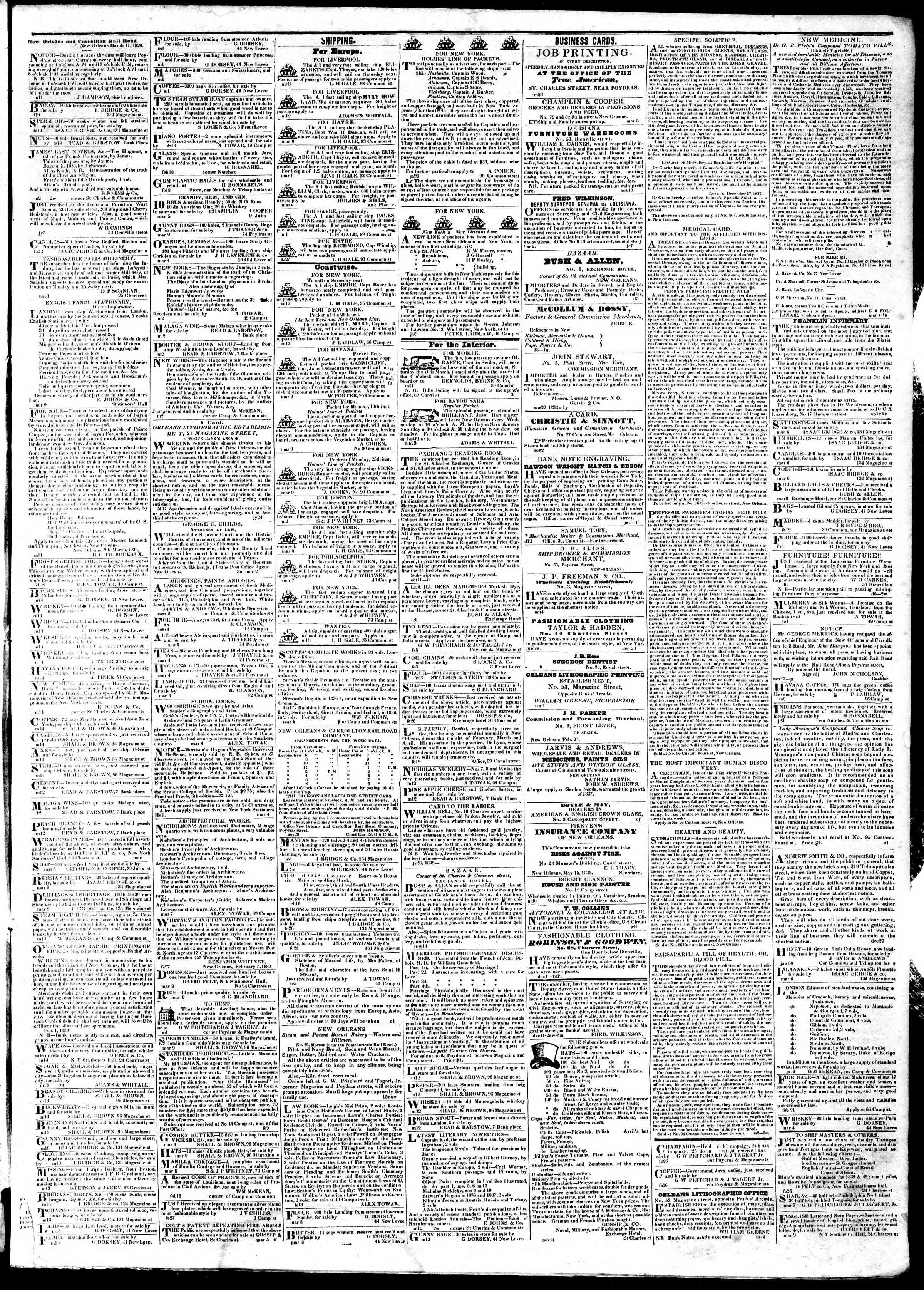 Newspaper of True American dated March 16, 1839 Page 3