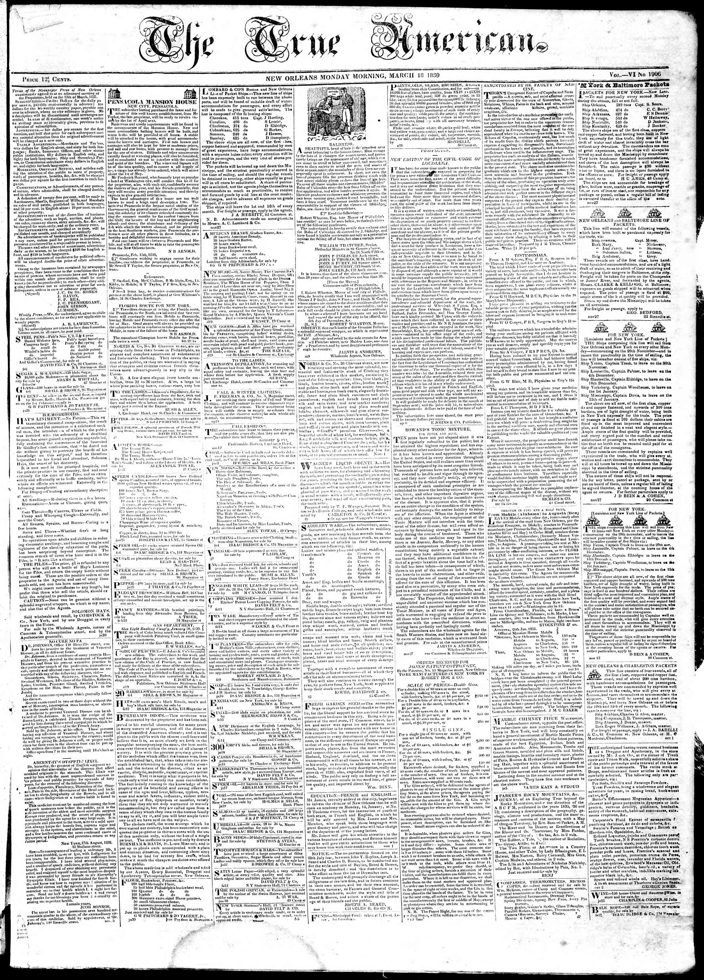 Newspaper of True American dated March 18, 1839 Page 1