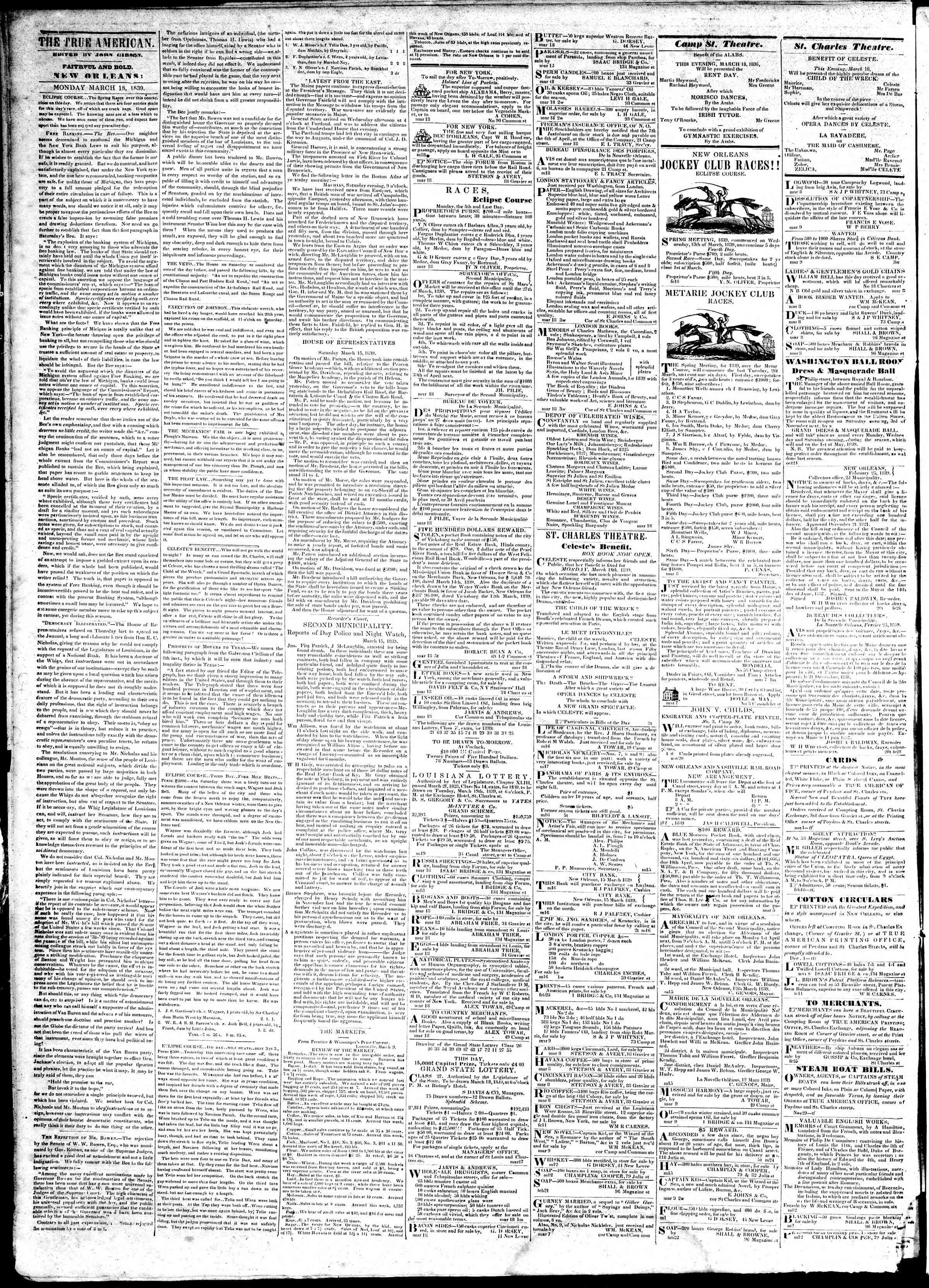 18 Mart 1839 tarihli True American Gazetesi Sayfa 2