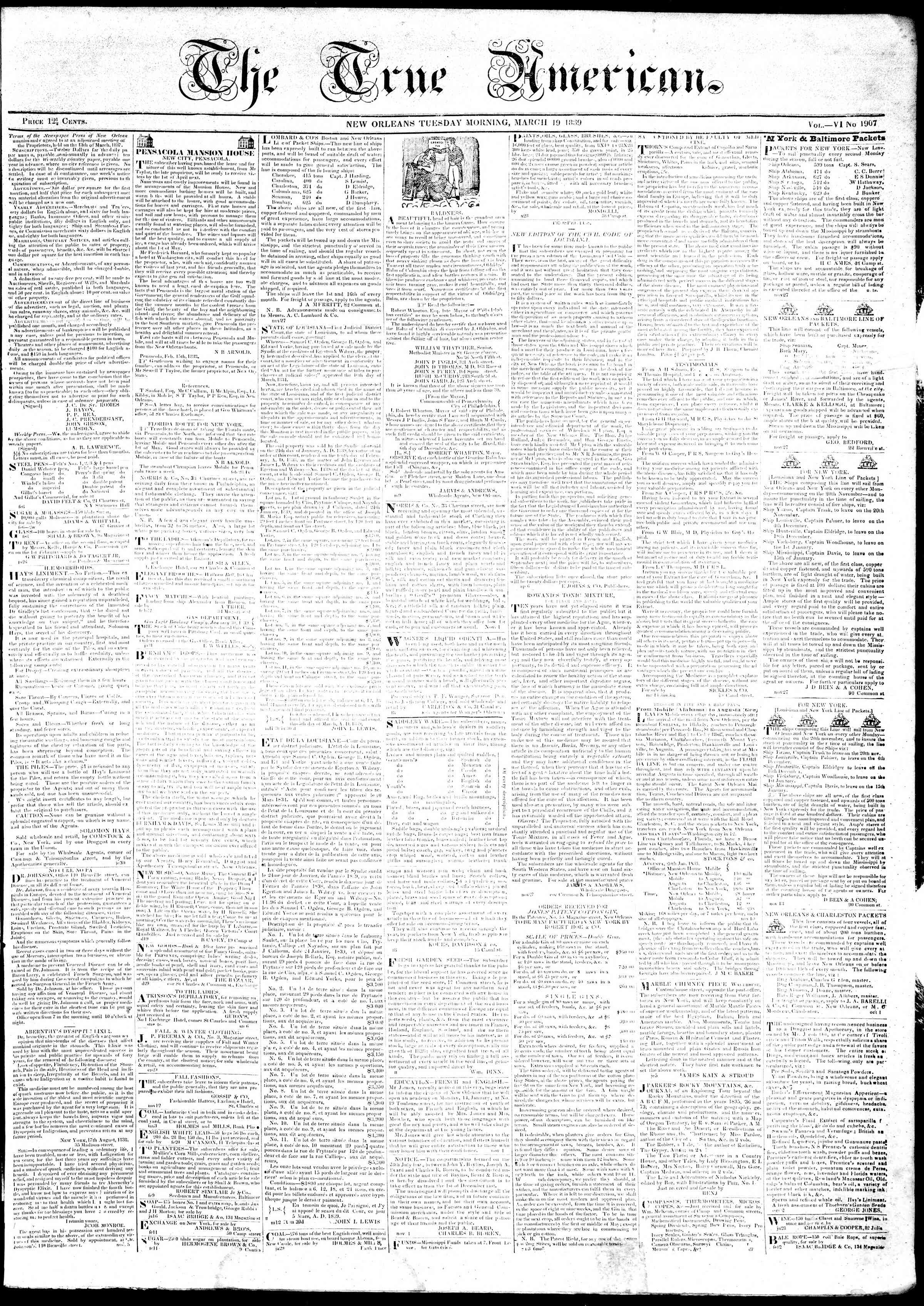 Newspaper of True American dated March 19, 1839 Page 1