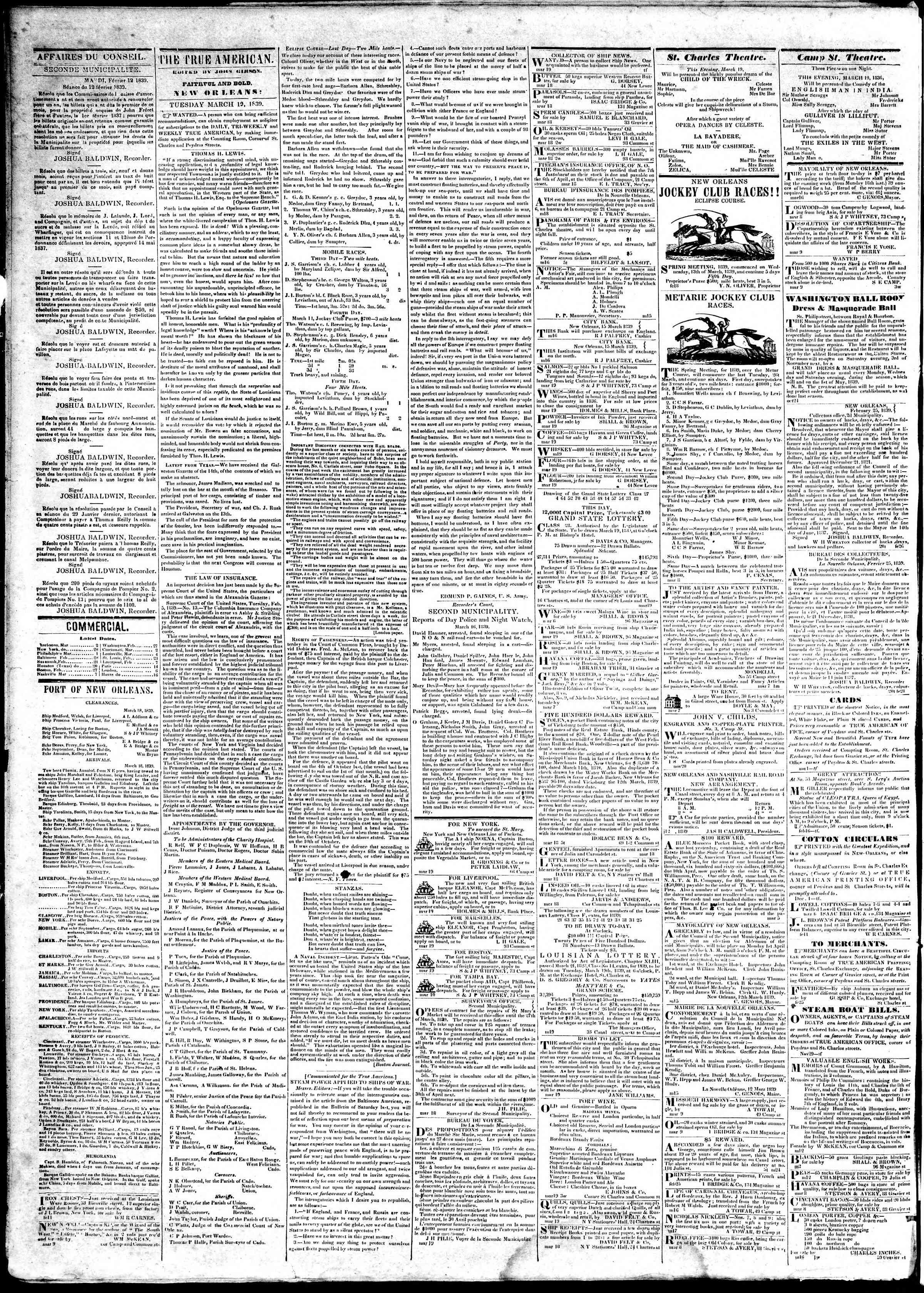 March 19, 1839 Tarihli True American Gazetesi Sayfa 2