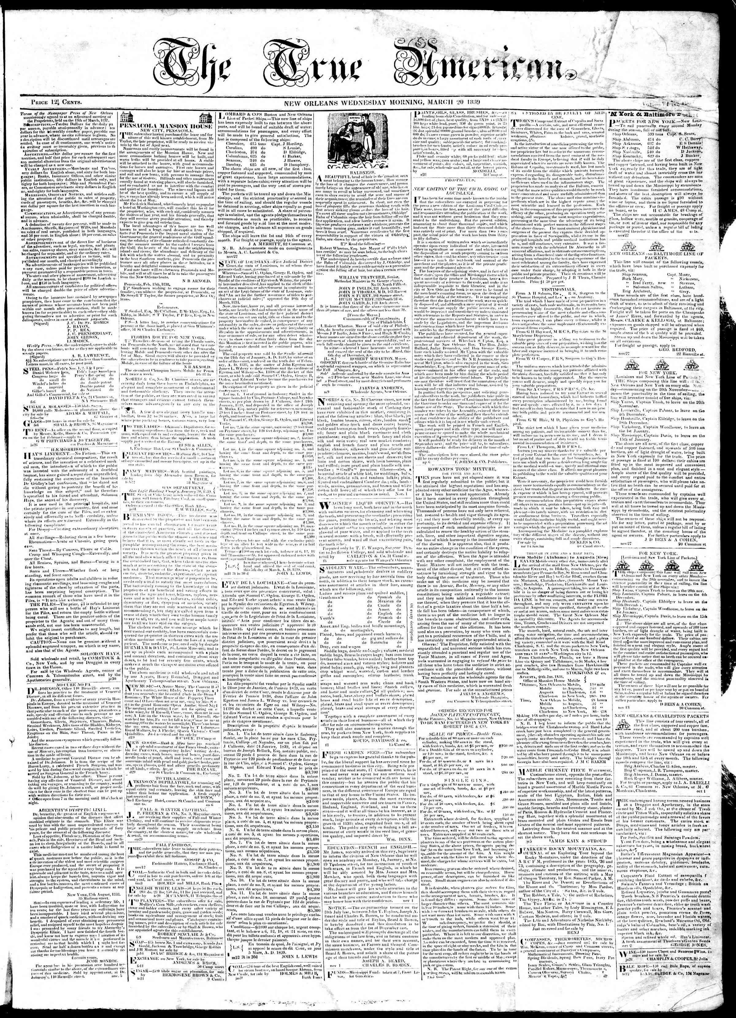 March 20, 1839 Tarihli True American Gazetesi Sayfa 1
