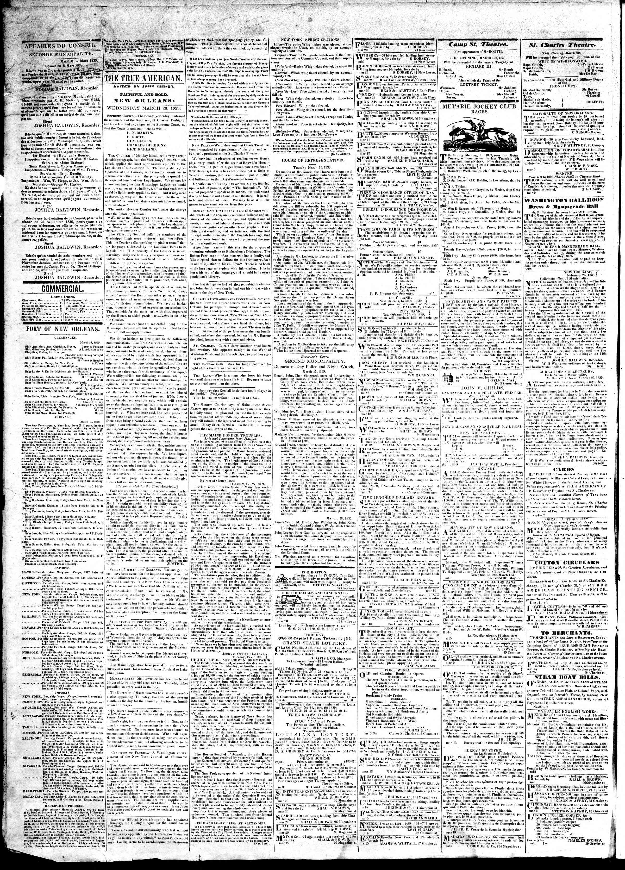 Newspaper of True American dated March 20, 1839 Page 2