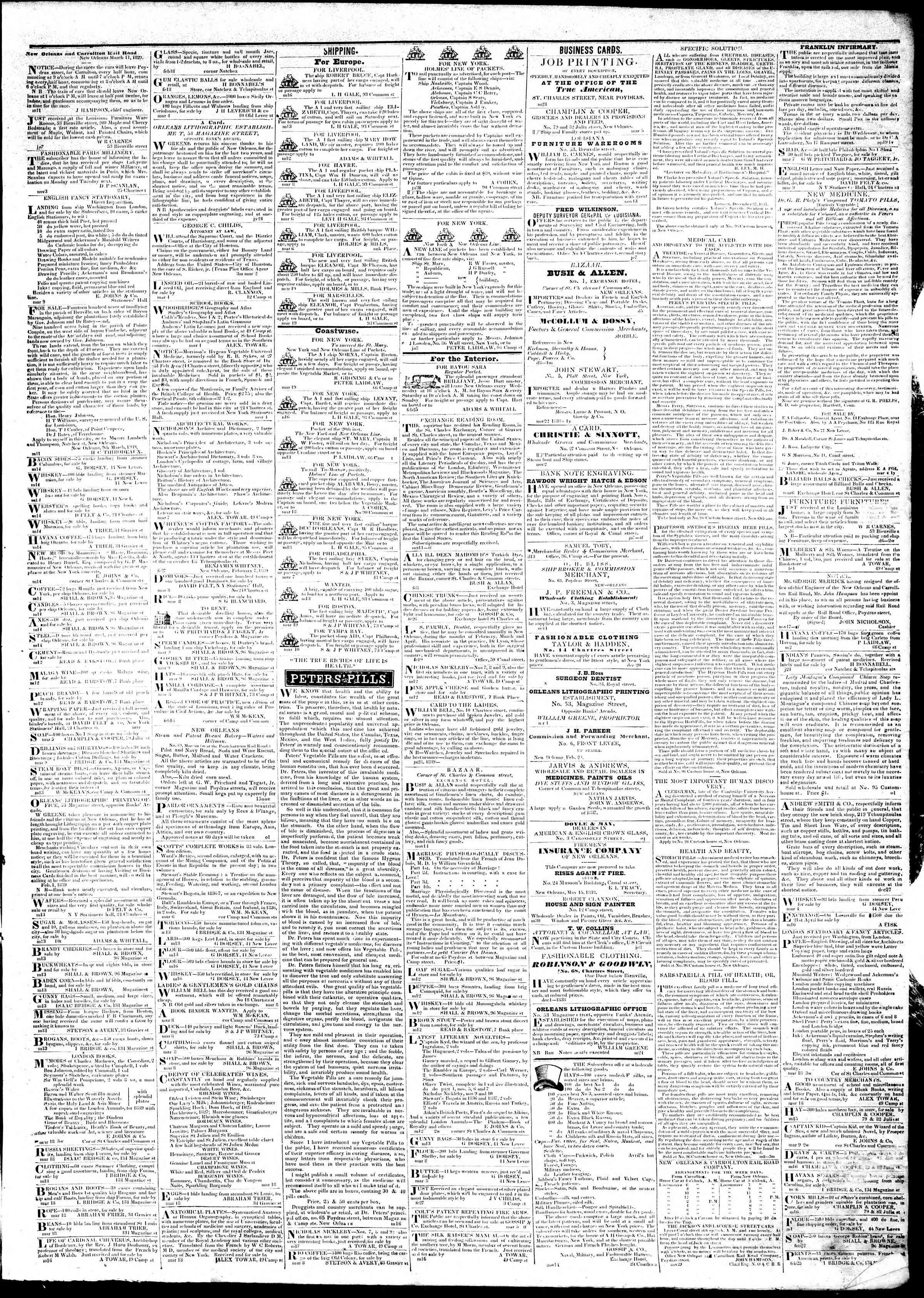 March 20, 1839 Tarihli True American Gazetesi Sayfa 3
