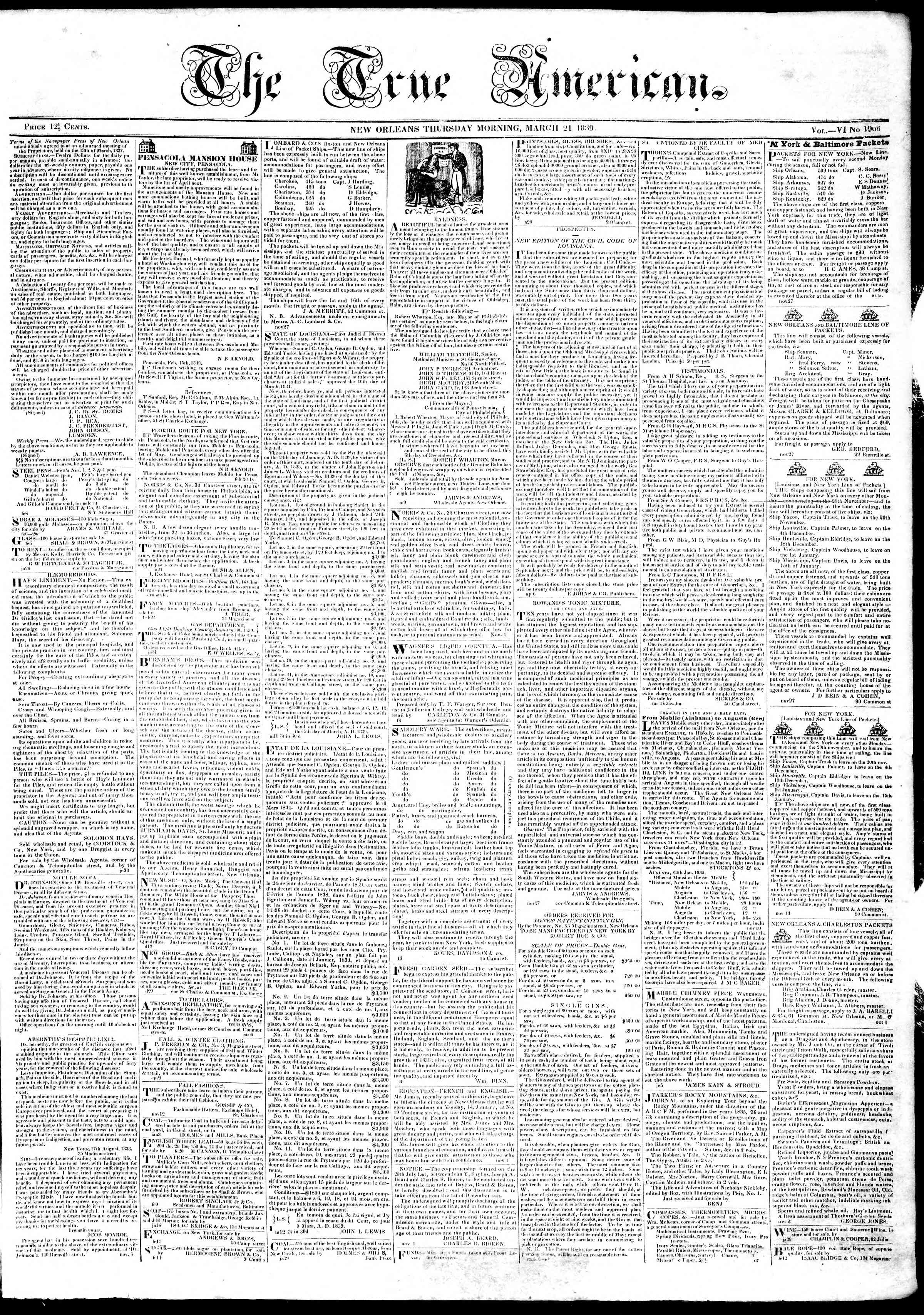 Newspaper of True American dated March 21, 1839 Page 1