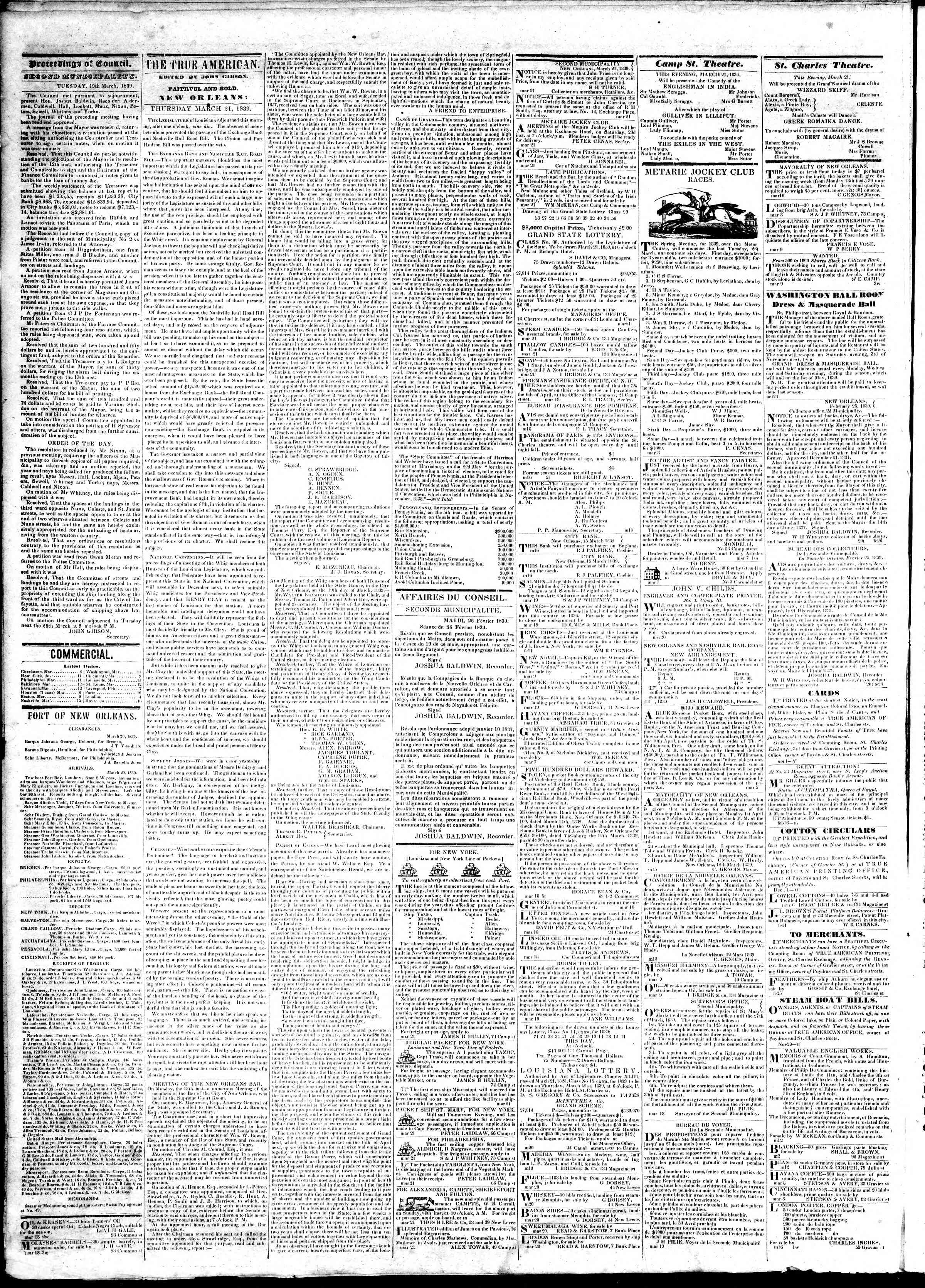 Newspaper of True American dated March 21, 1839 Page 2
