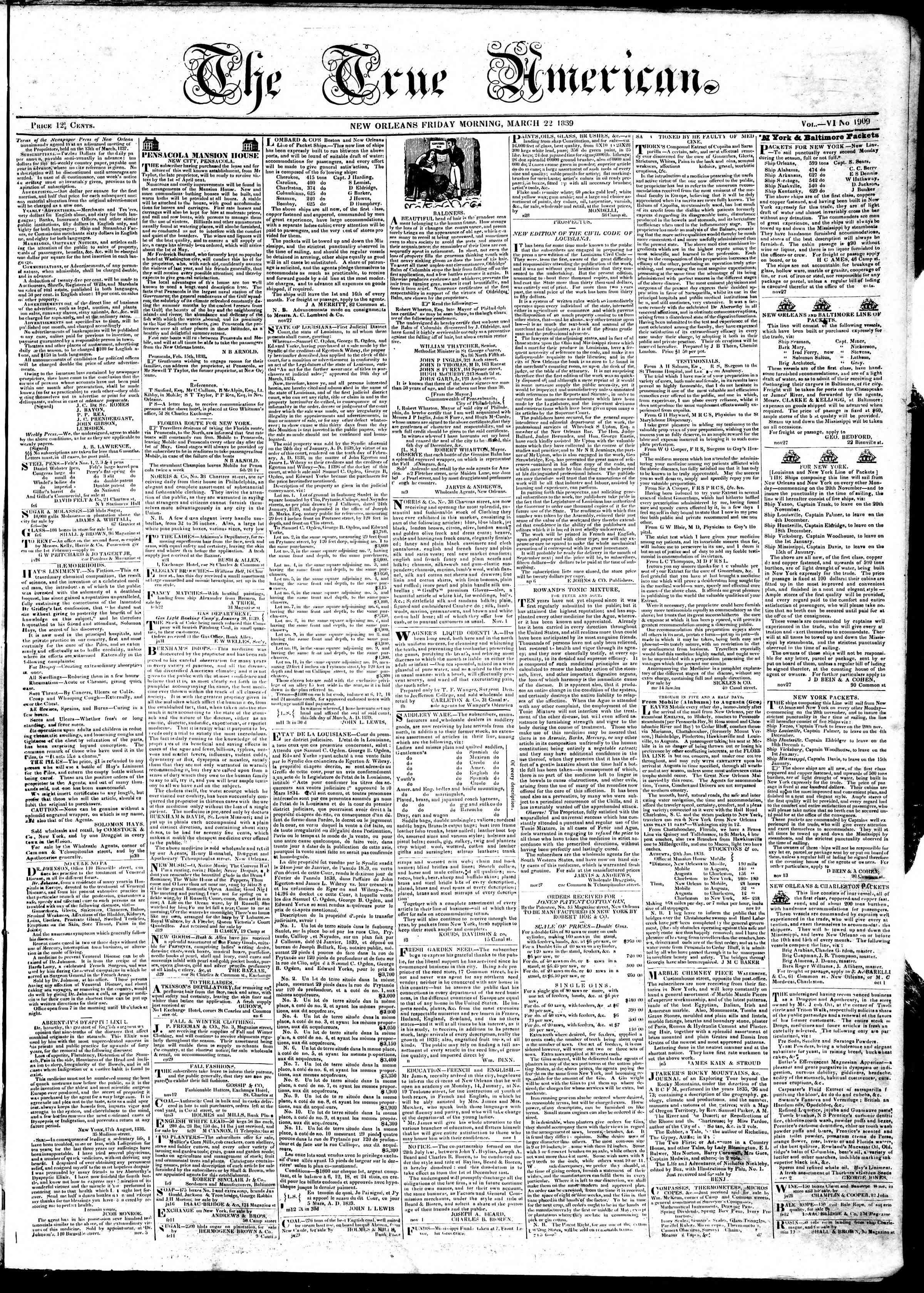 March 22, 1839 Tarihli True American Gazetesi Sayfa 1
