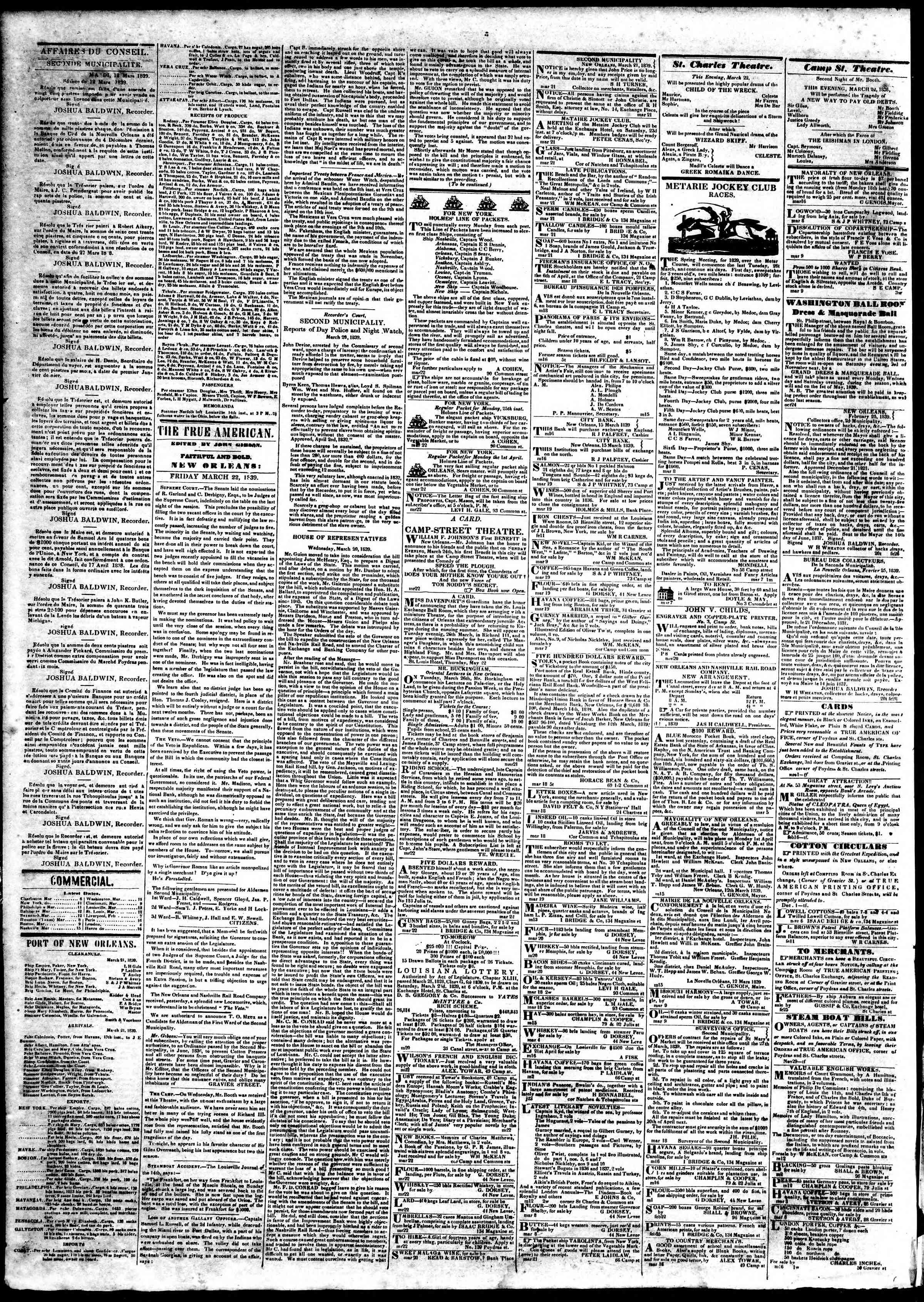 March 22, 1839 Tarihli True American Gazetesi Sayfa 2
