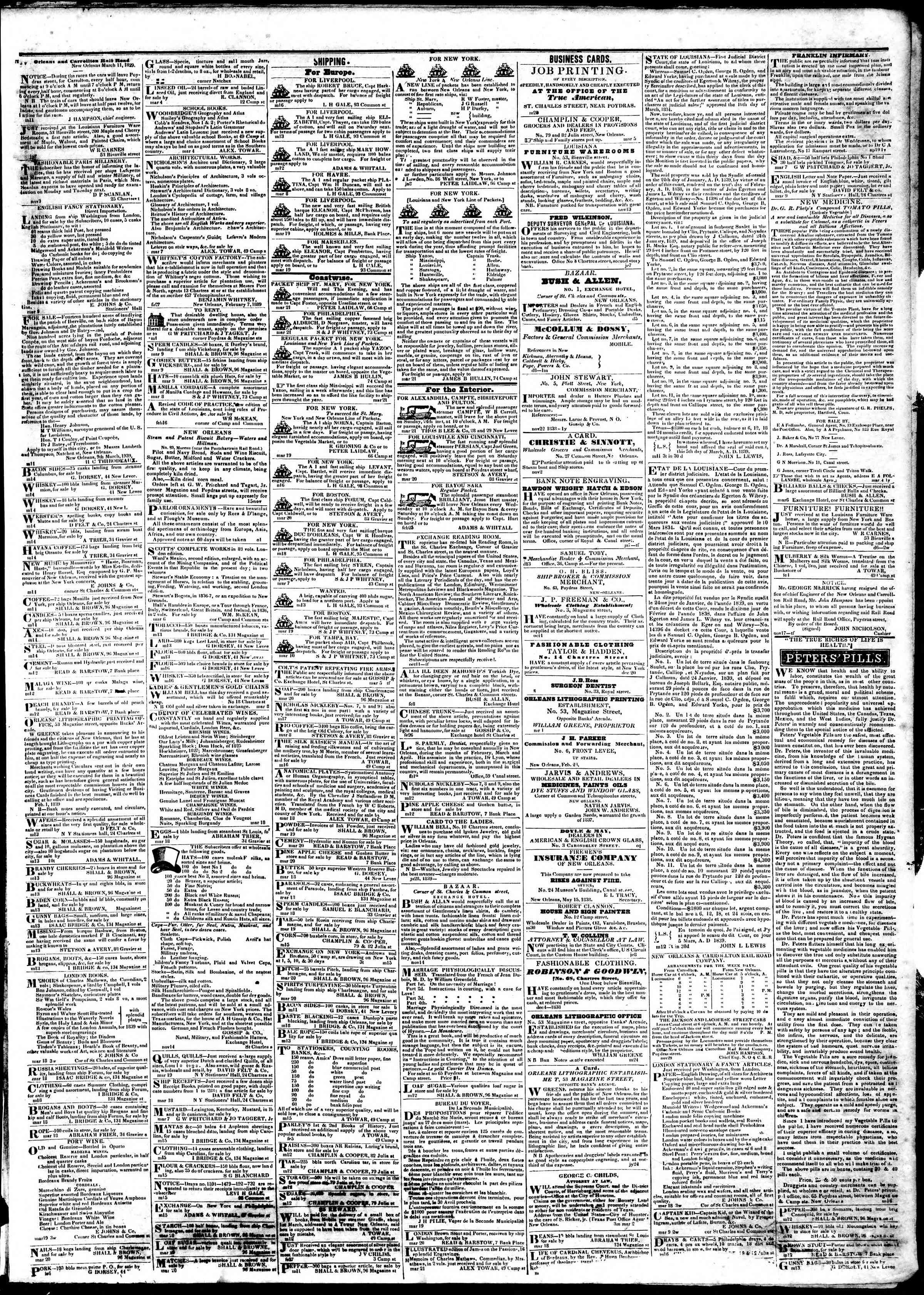 March 22, 1839 Tarihli True American Gazetesi Sayfa 3
