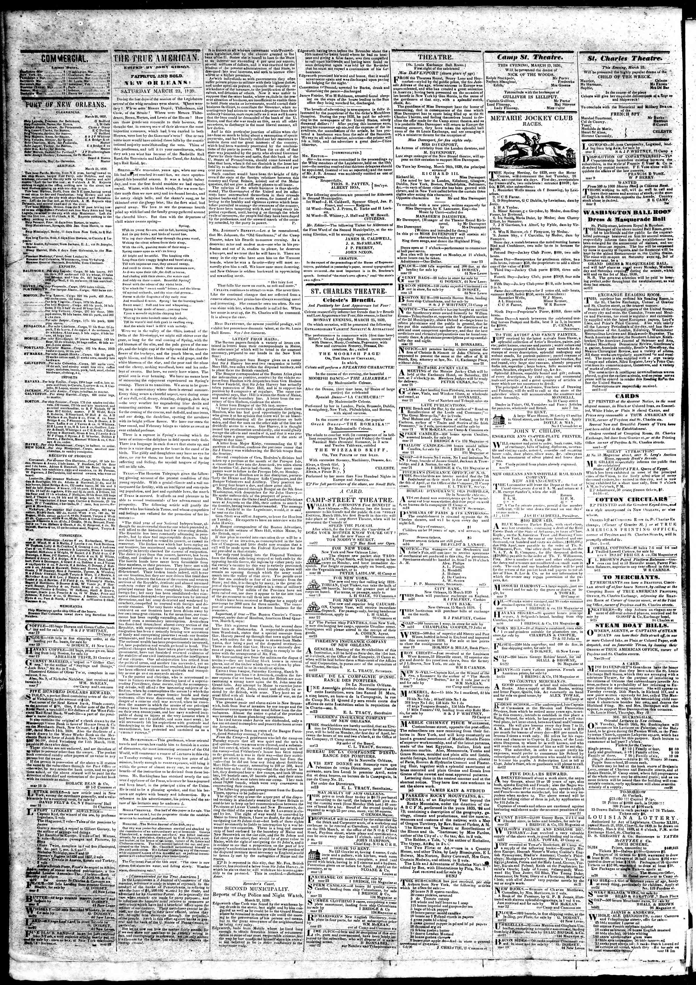 Newspaper of True American dated March 23, 1839 Page 2