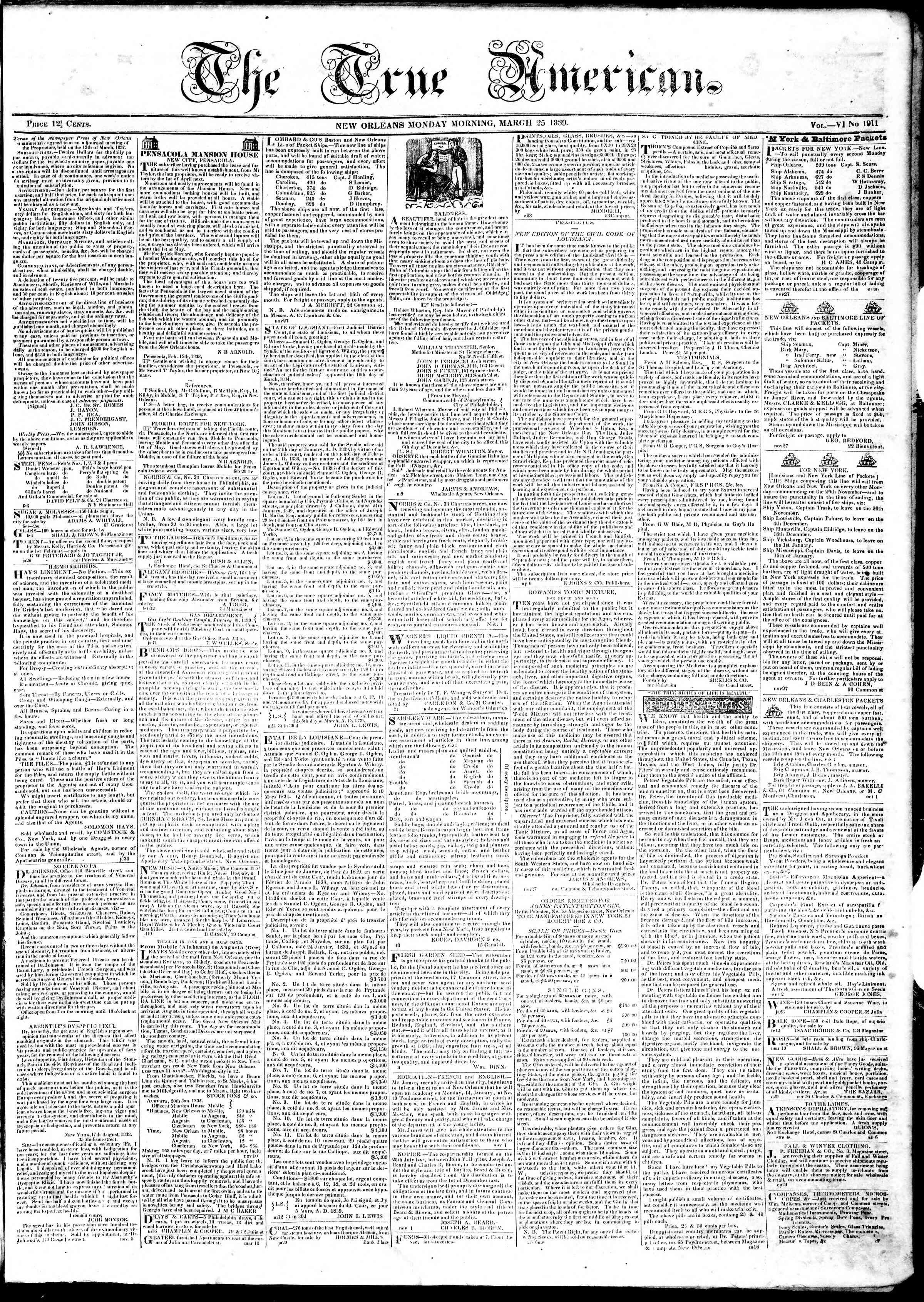 March 25, 1839 Tarihli True American Gazetesi Sayfa 1