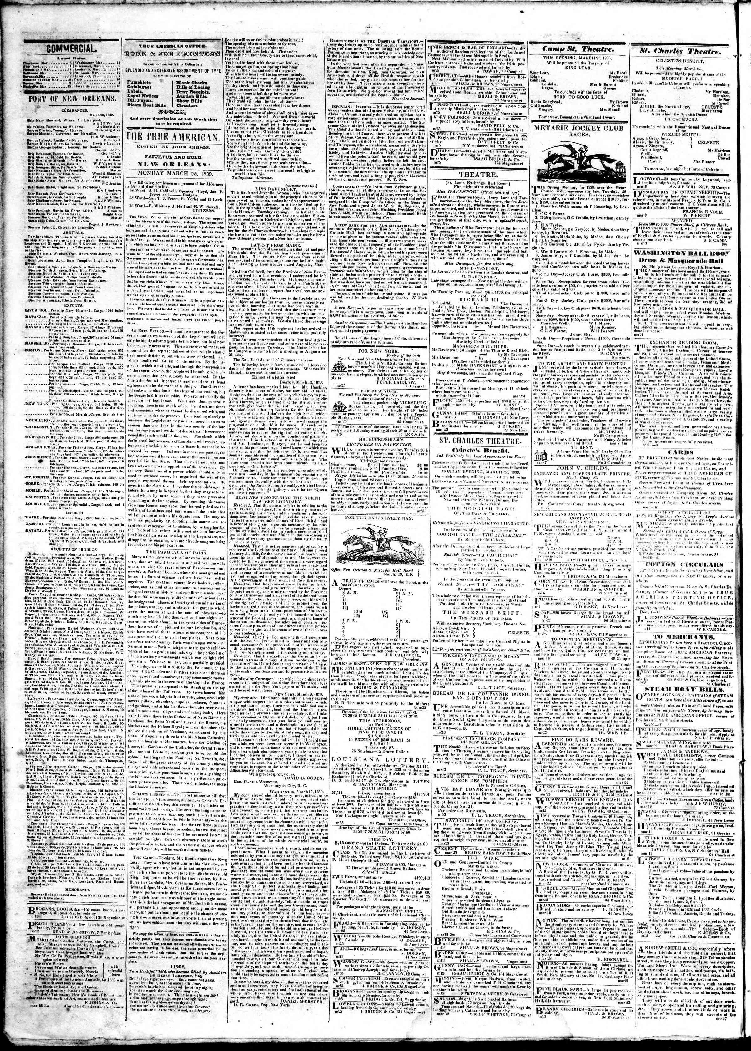 March 25, 1839 Tarihli True American Gazetesi Sayfa 2