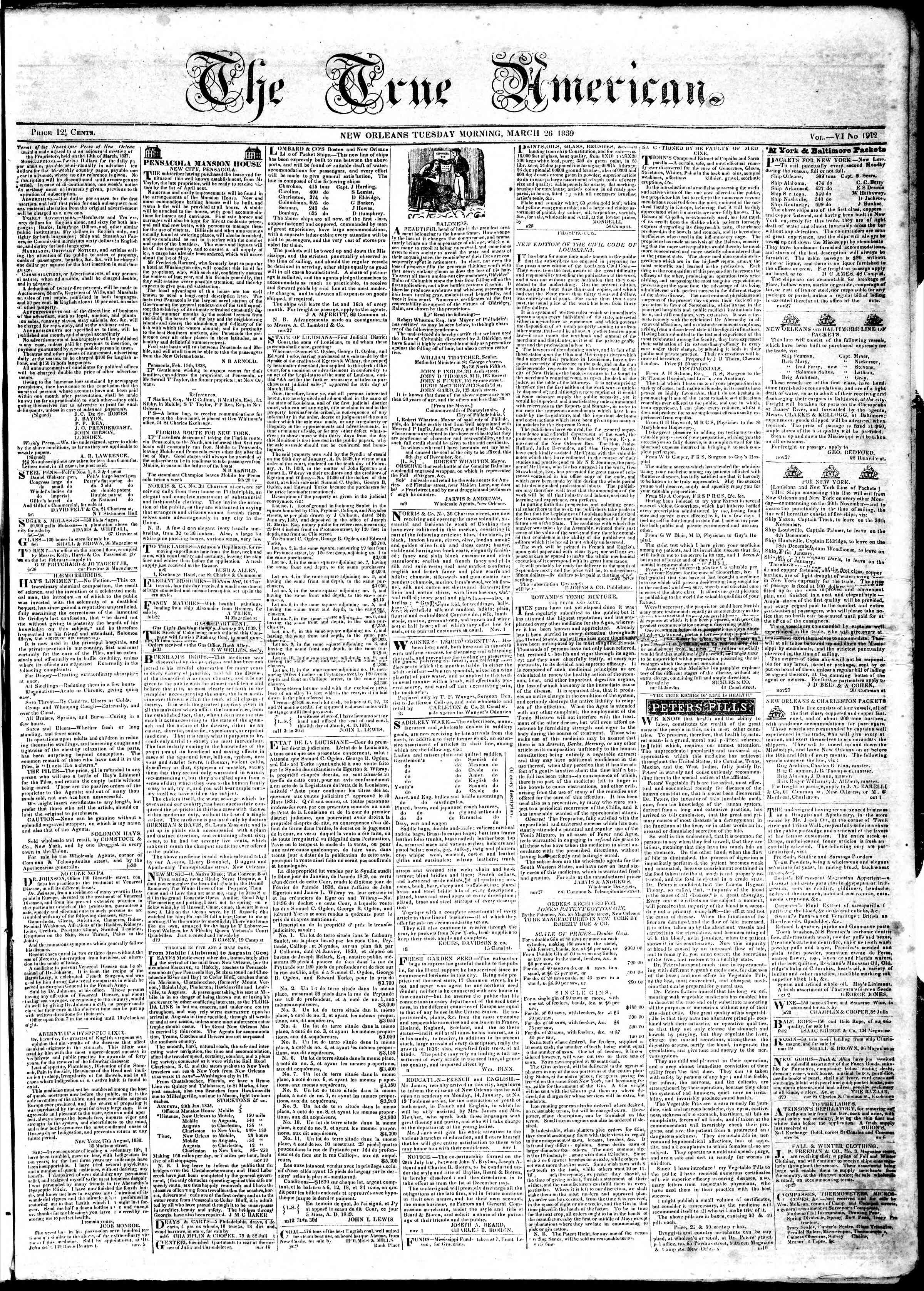 Newspaper of True American dated March 26, 1839 Page 1
