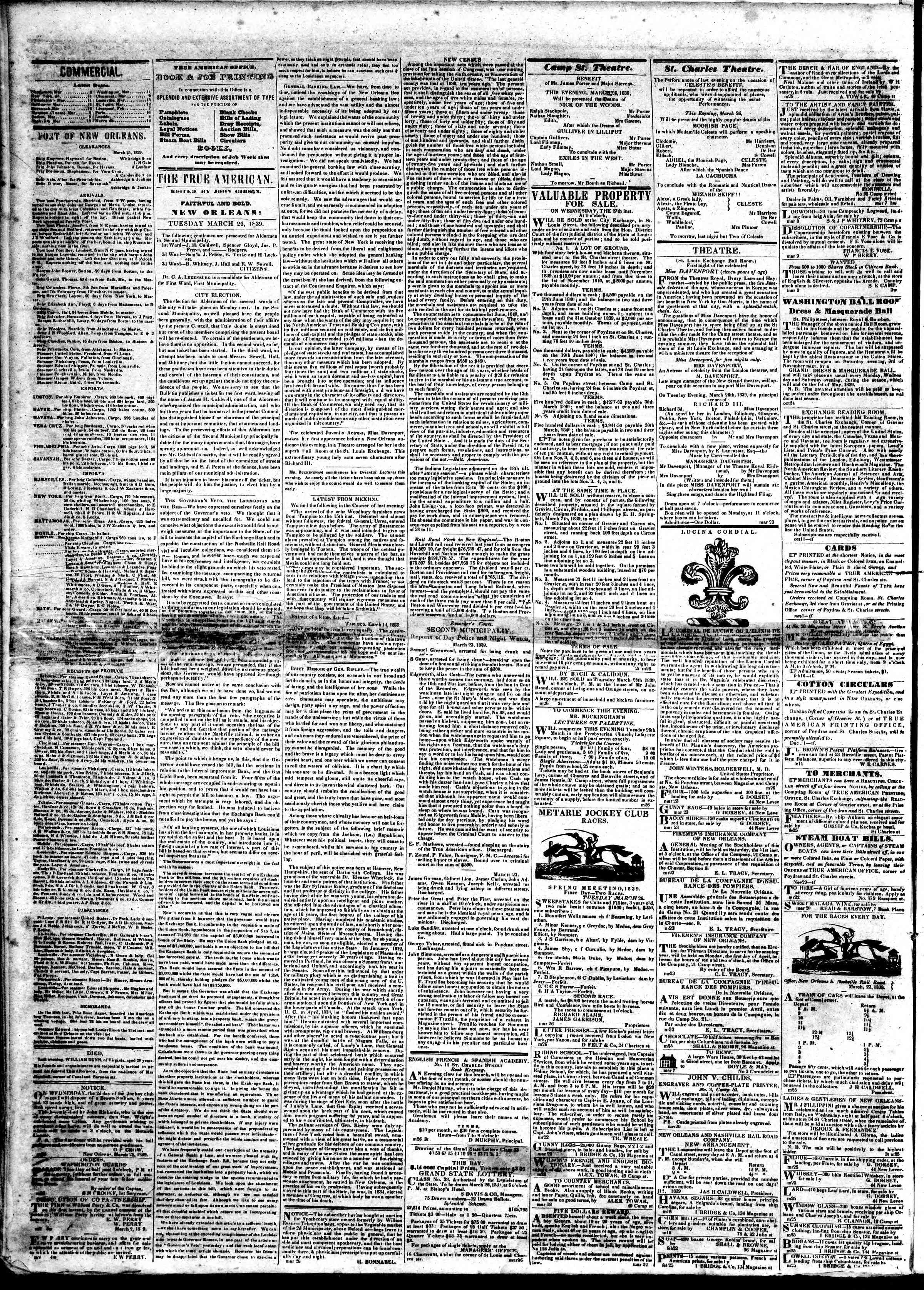 Newspaper of True American dated March 26, 1839 Page 2