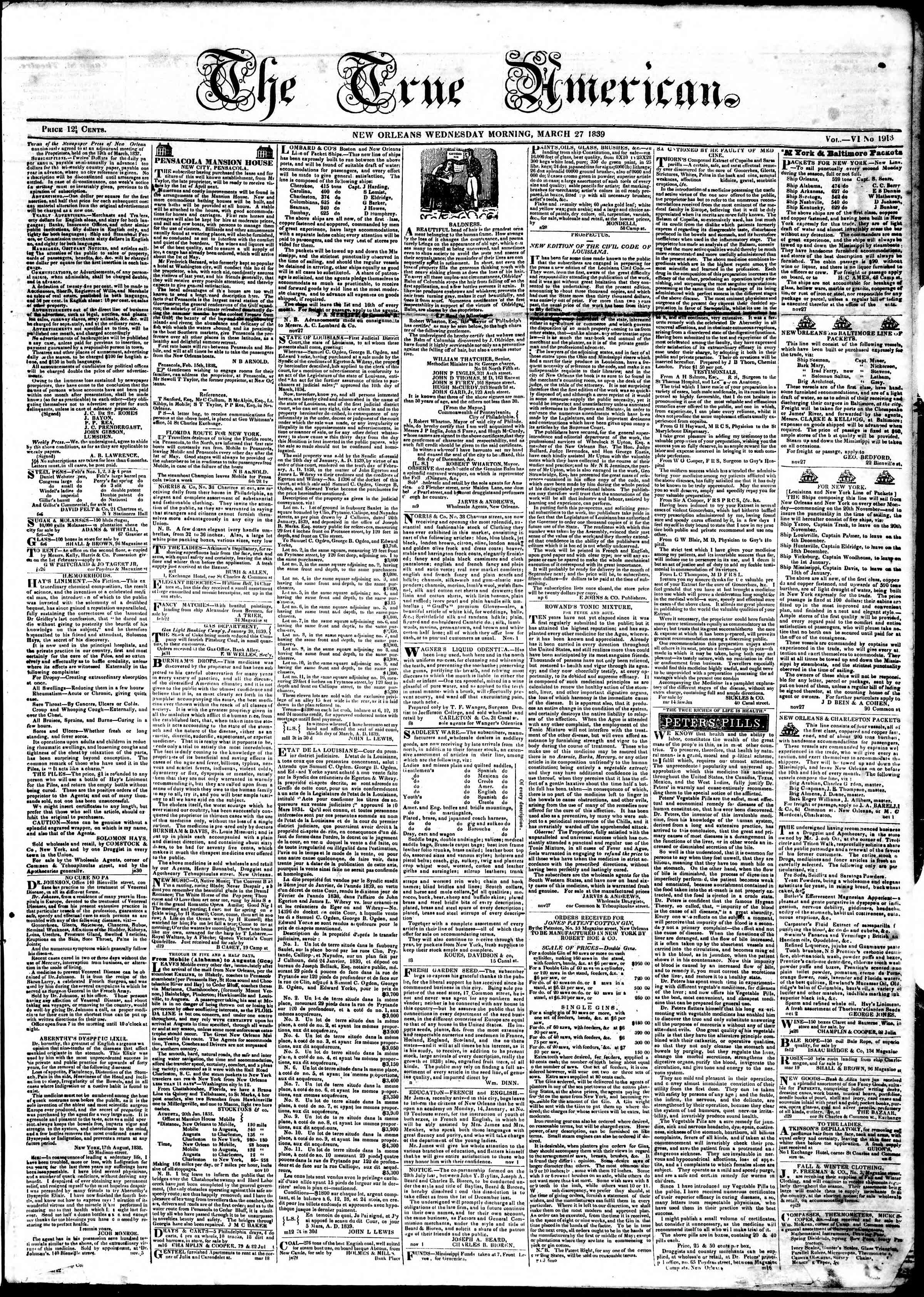 Newspaper of True American dated March 27, 1839 Page 1