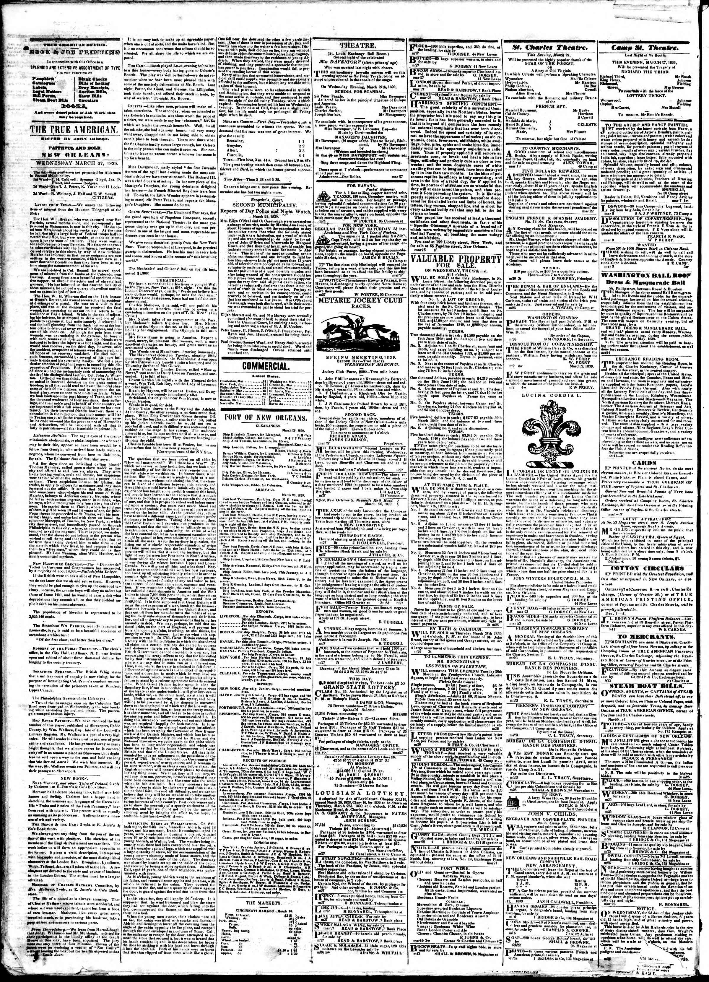 Newspaper of True American dated March 27, 1839 Page 2