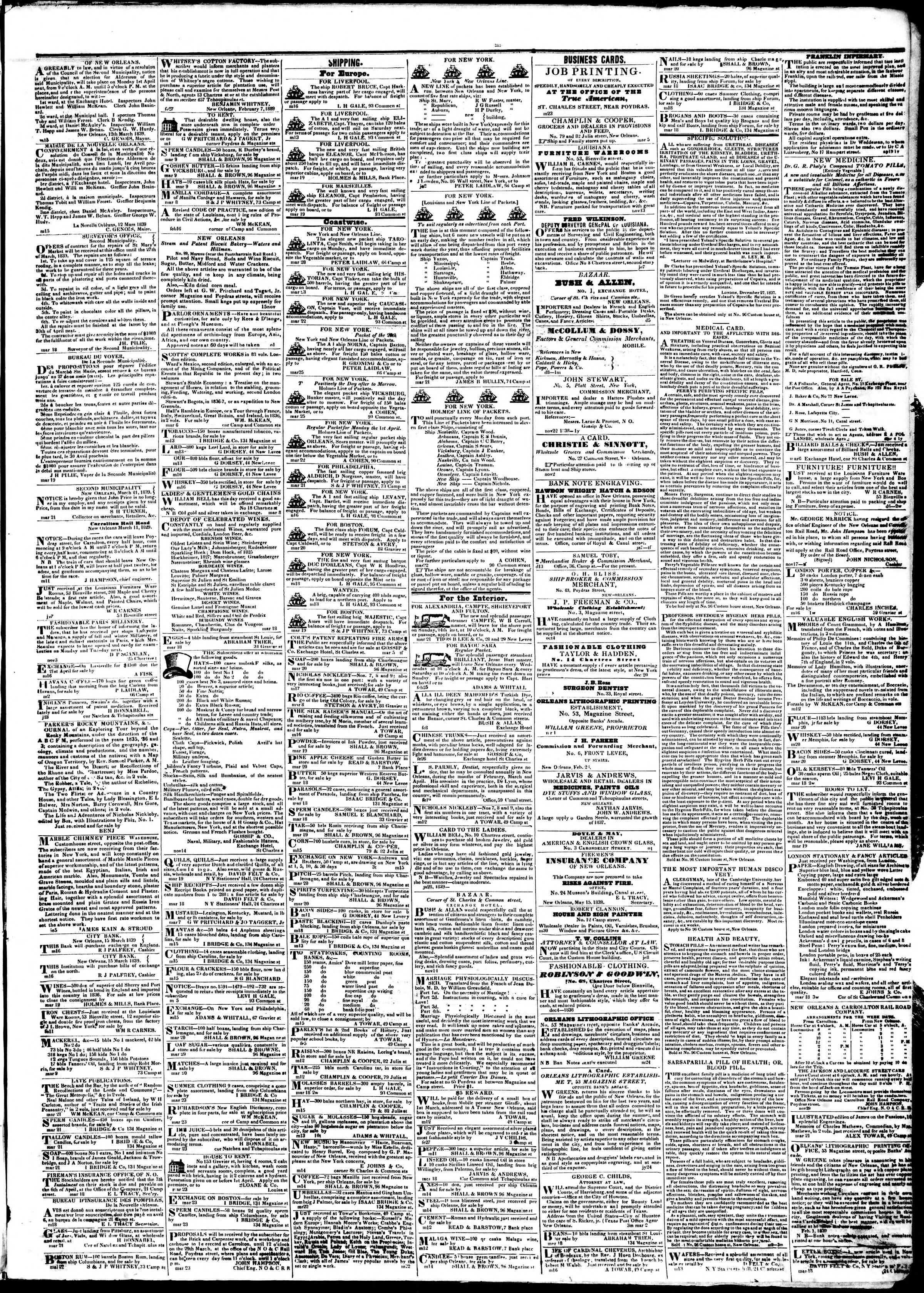 Newspaper of True American dated March 27, 1839 Page 3