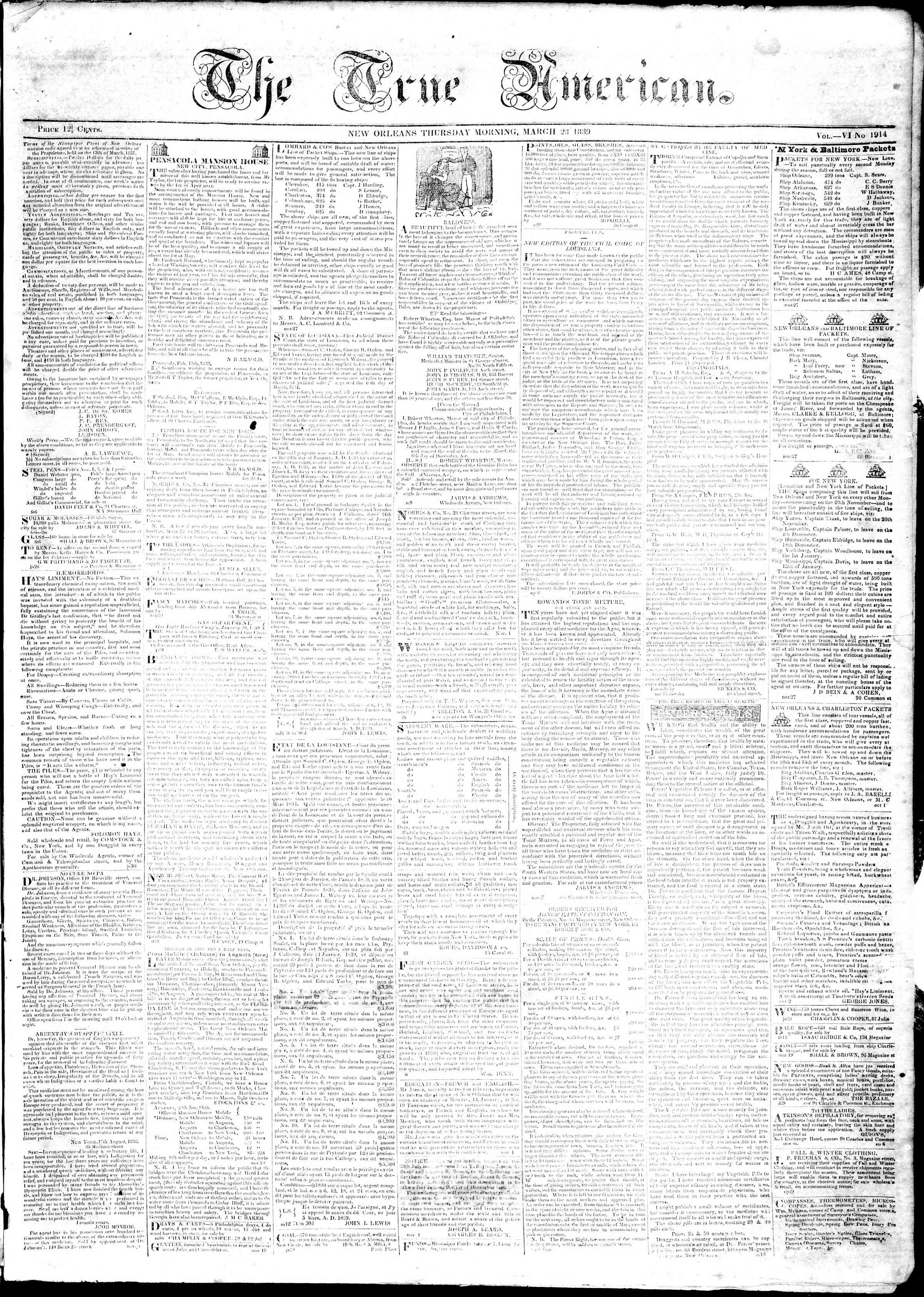 Newspaper of True American dated March 28, 1839 Page 1