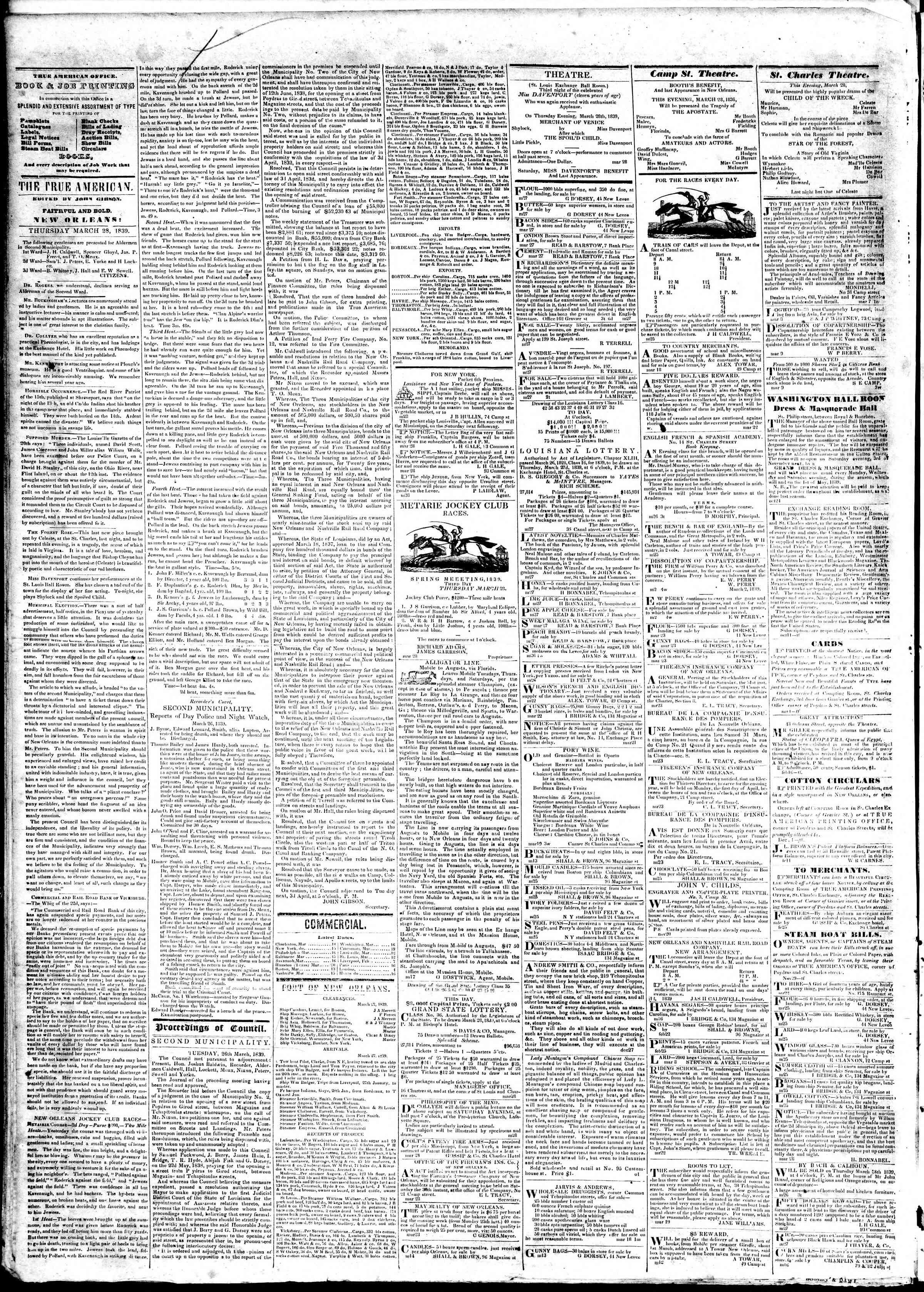 March 28, 1839 Tarihli True American Gazetesi Sayfa 2
