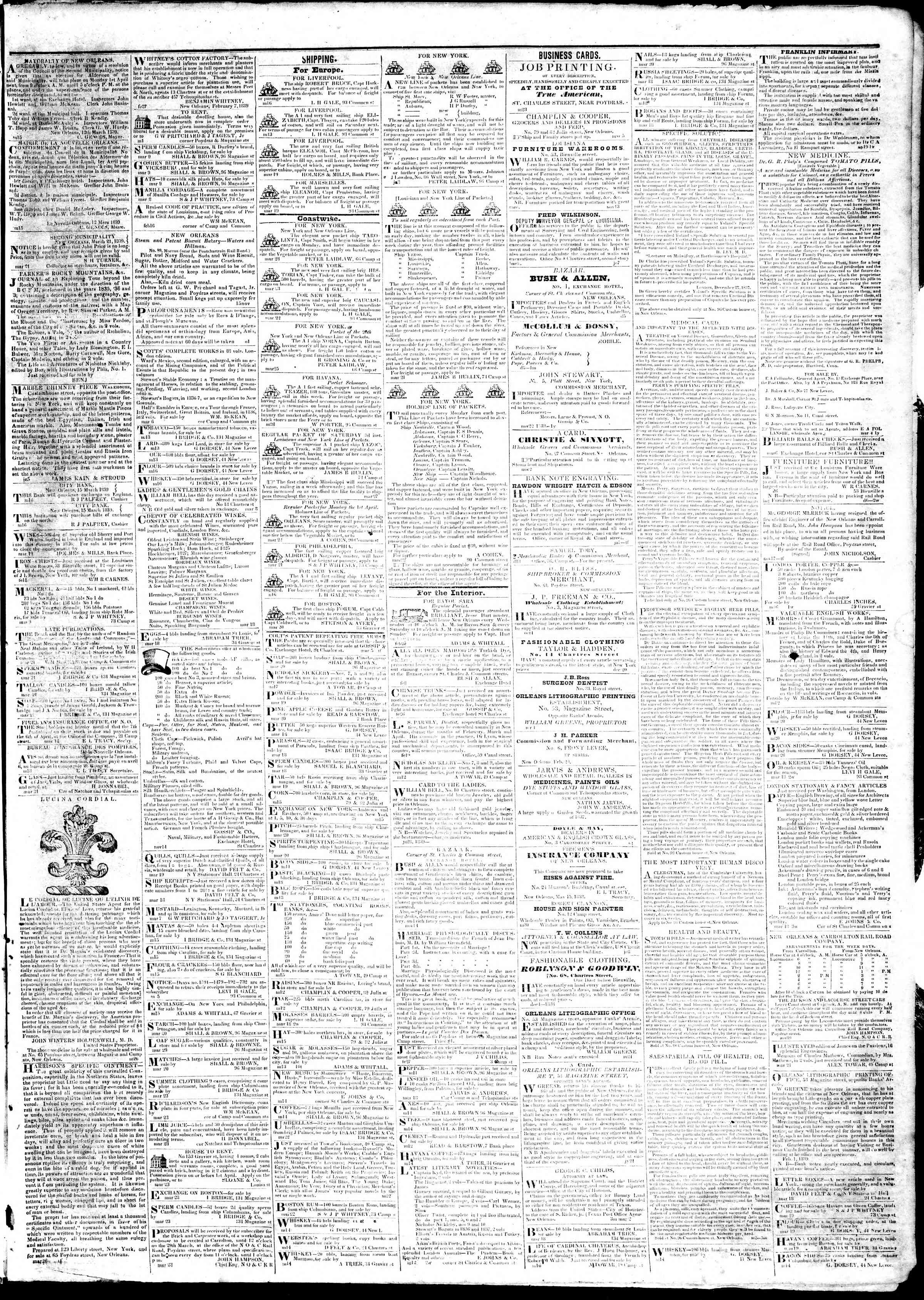 March 28, 1839 Tarihli True American Gazetesi Sayfa 3
