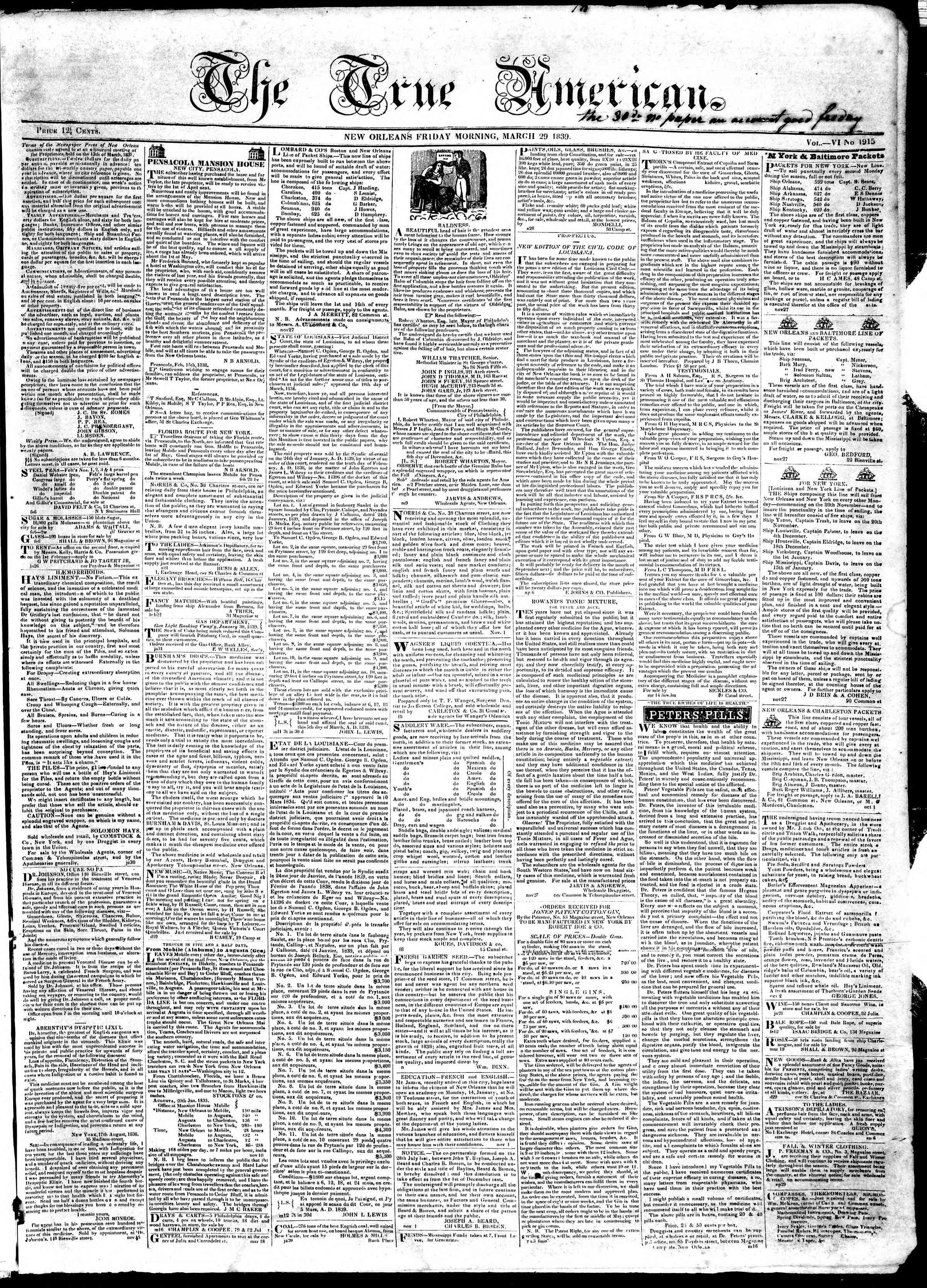 Newspaper of True American dated March 29, 1839 Page 1