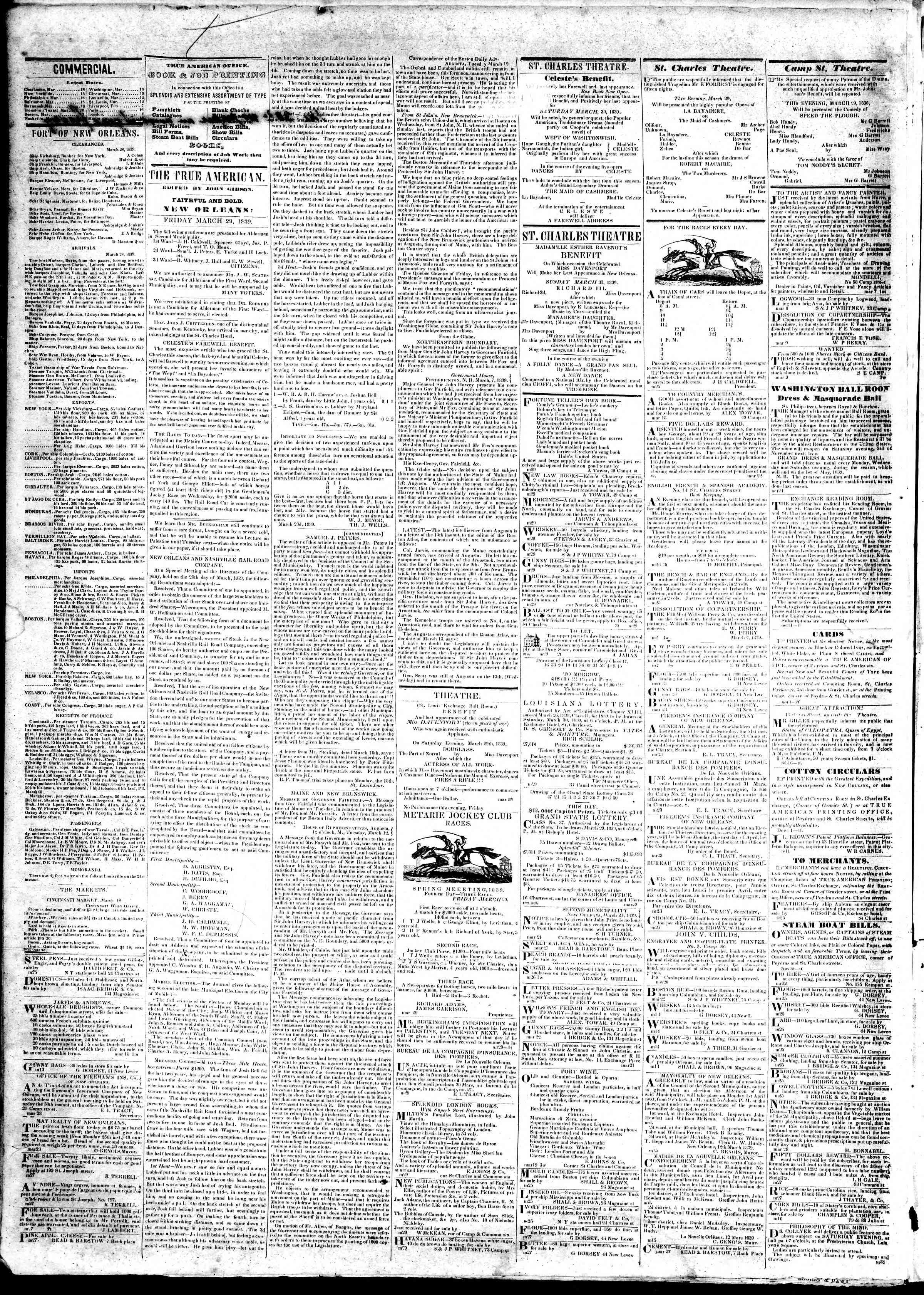 March 29, 1839 Tarihli True American Gazetesi Sayfa 2
