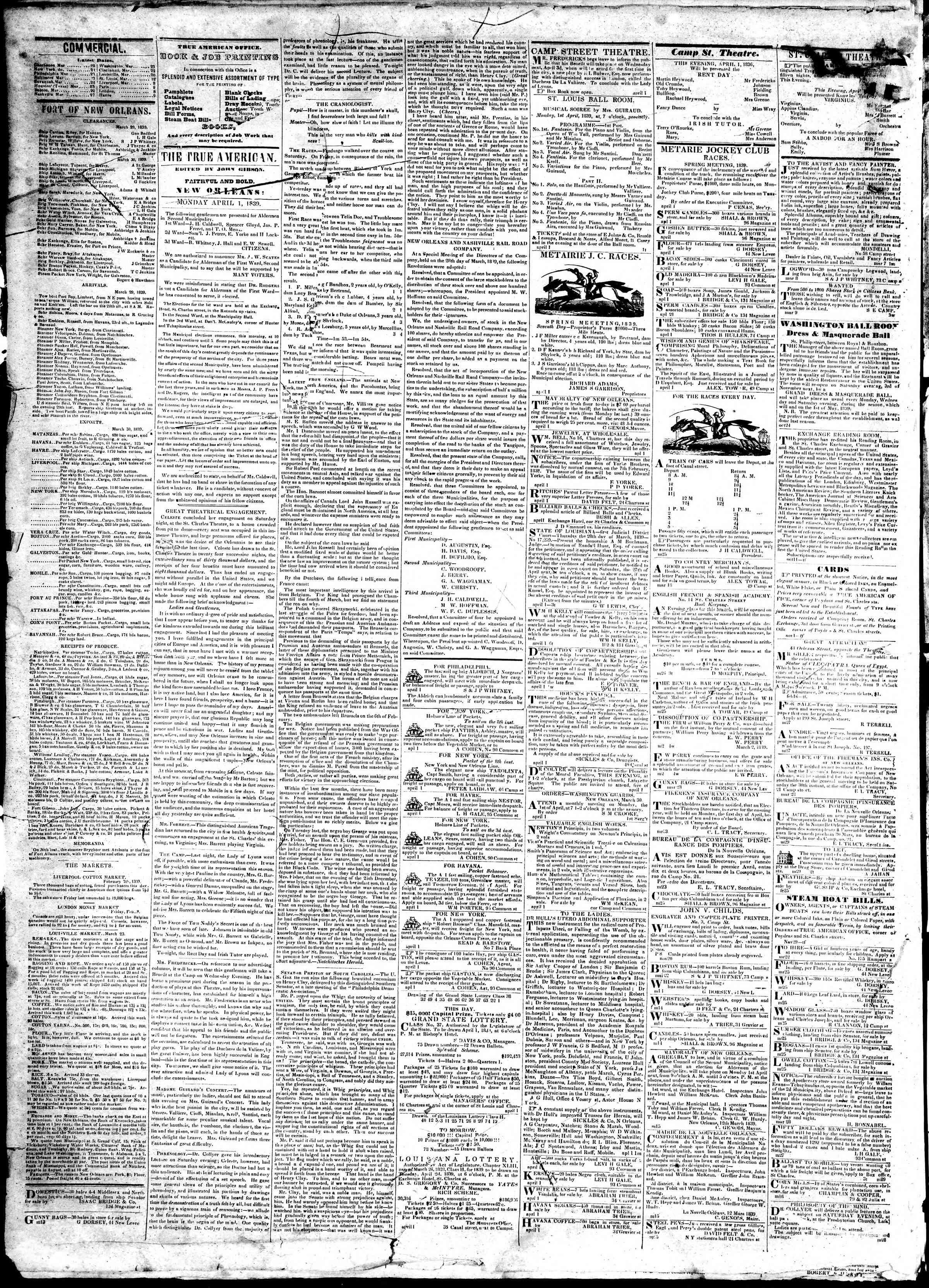 April 1, 1839 Tarihli True American Gazetesi Sayfa 2