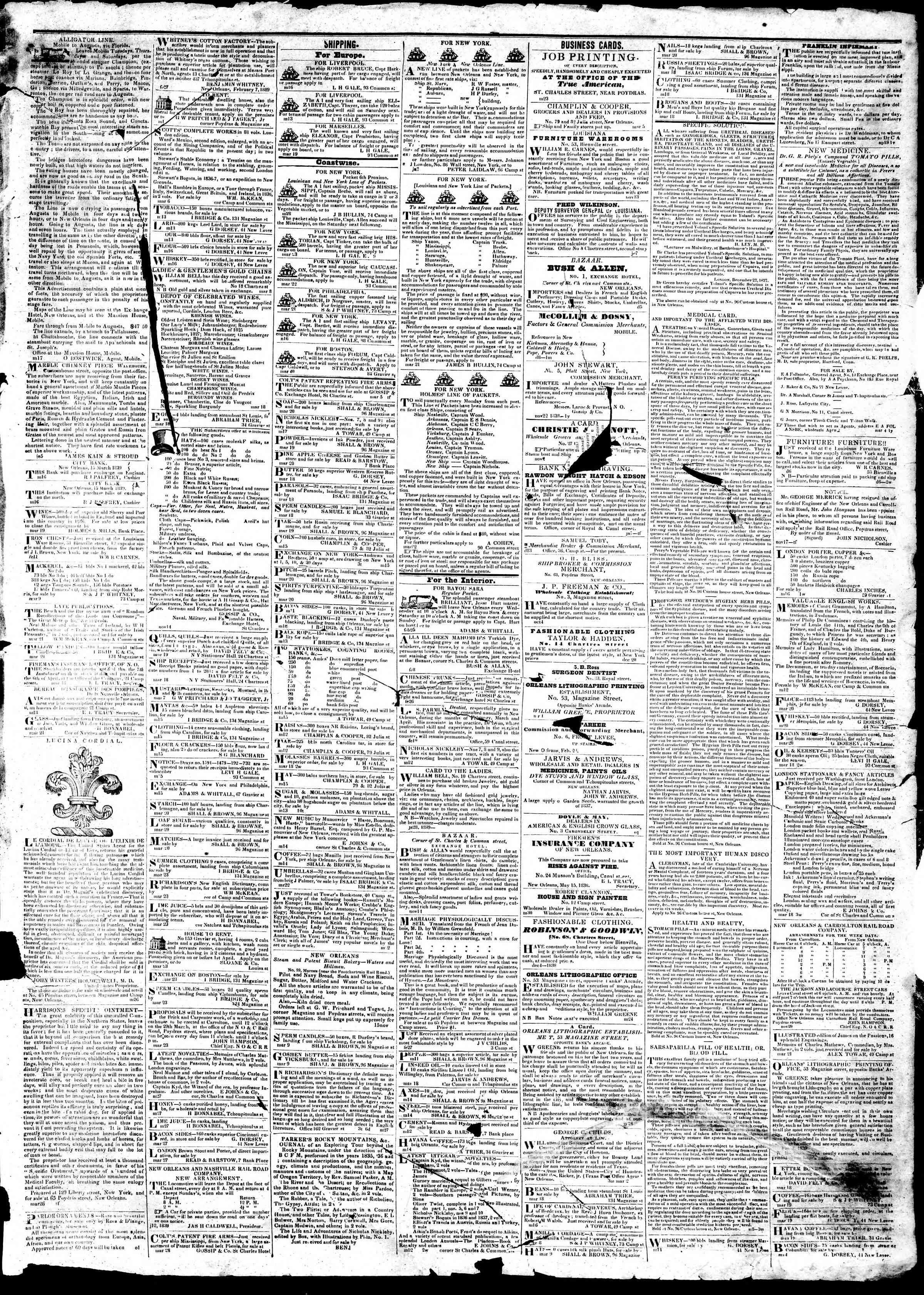April 1, 1839 Tarihli True American Gazetesi Sayfa 3