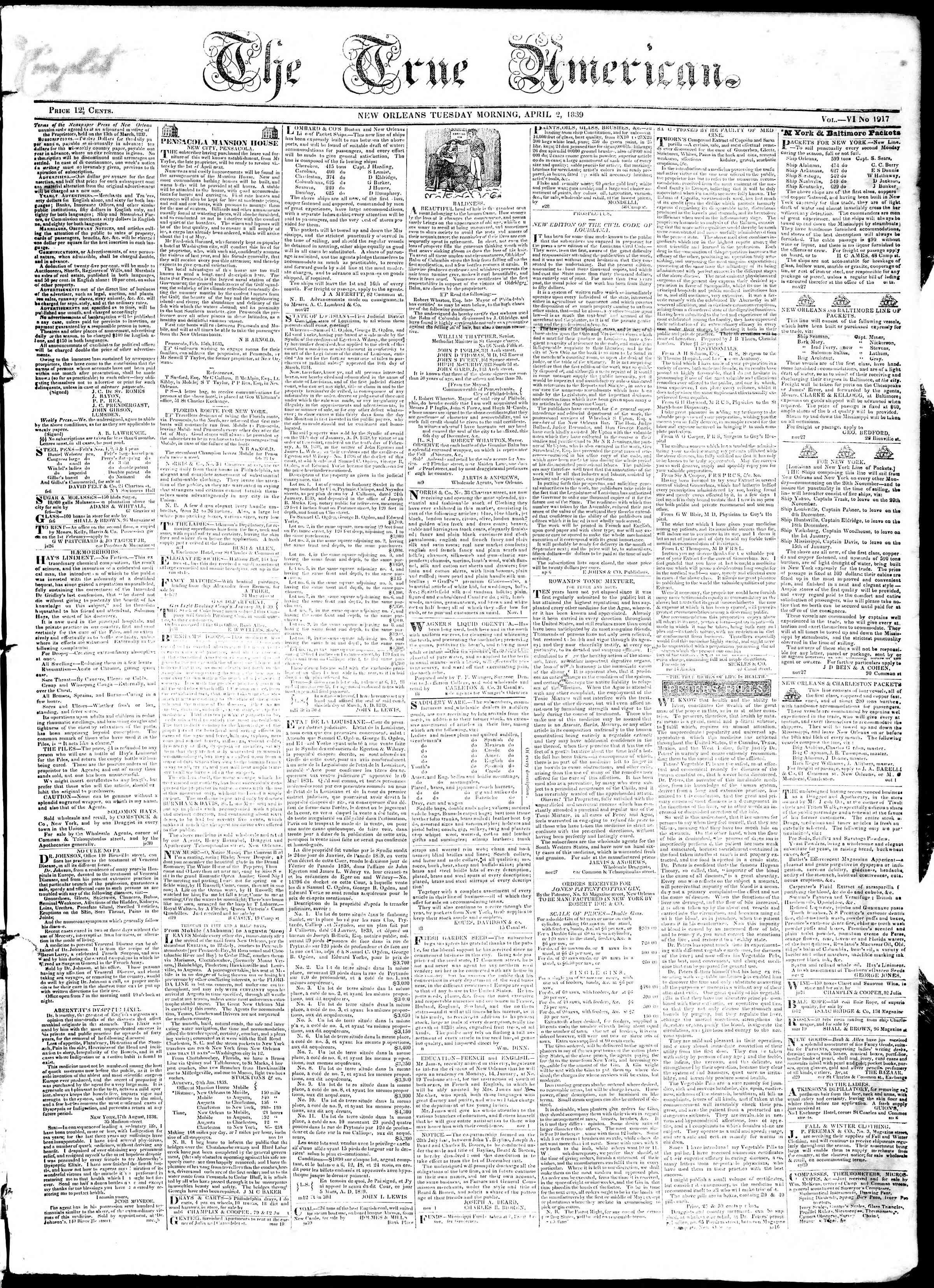 April 2, 1839 Tarihli True American Gazetesi Sayfa 1