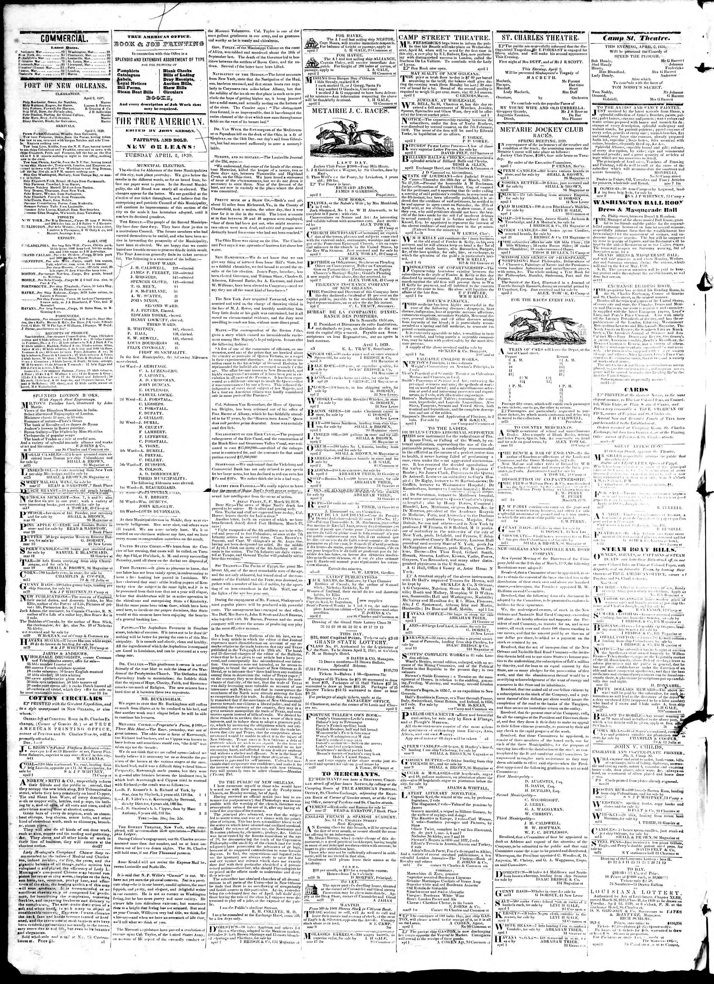 Newspaper of True American dated April 2, 1839 Page 2