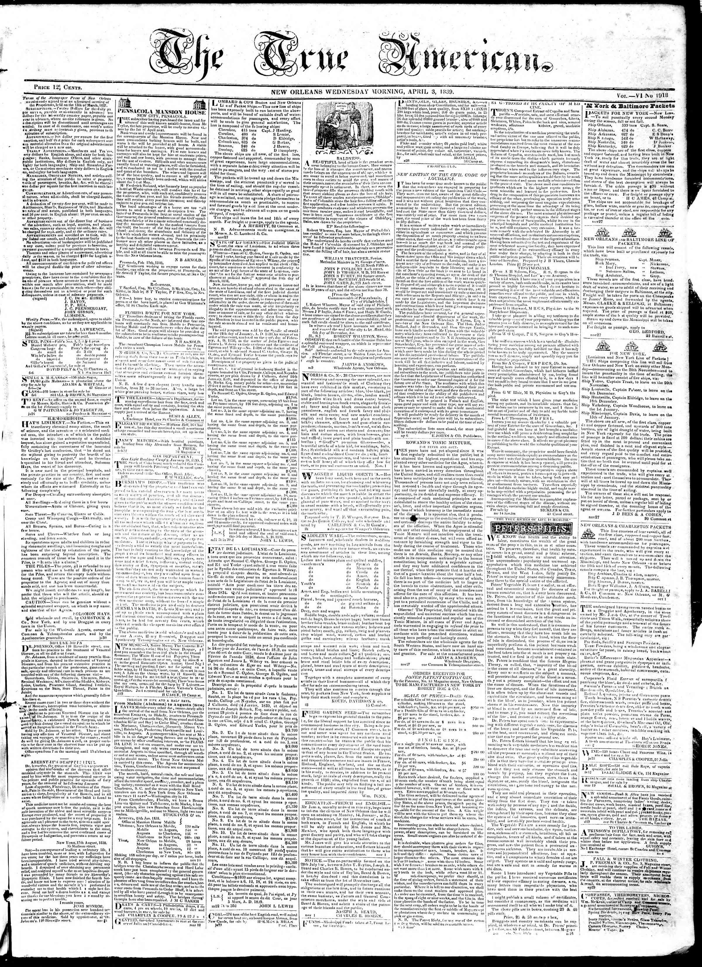 April 3, 1839 Tarihli True American Gazetesi Sayfa 1