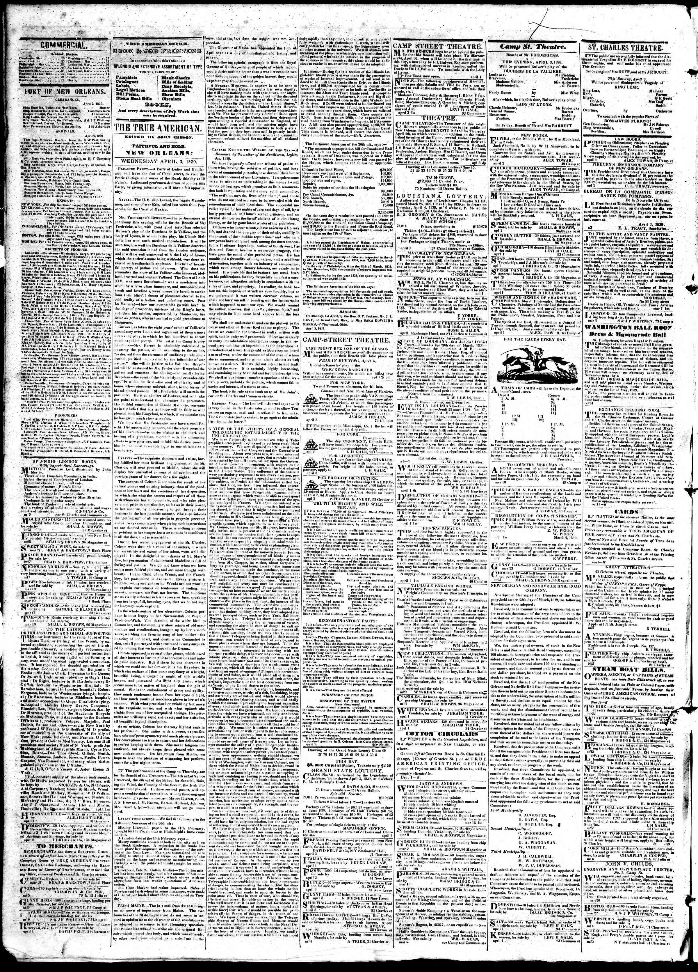 Newspaper of True American dated April 3, 1839 Page 2