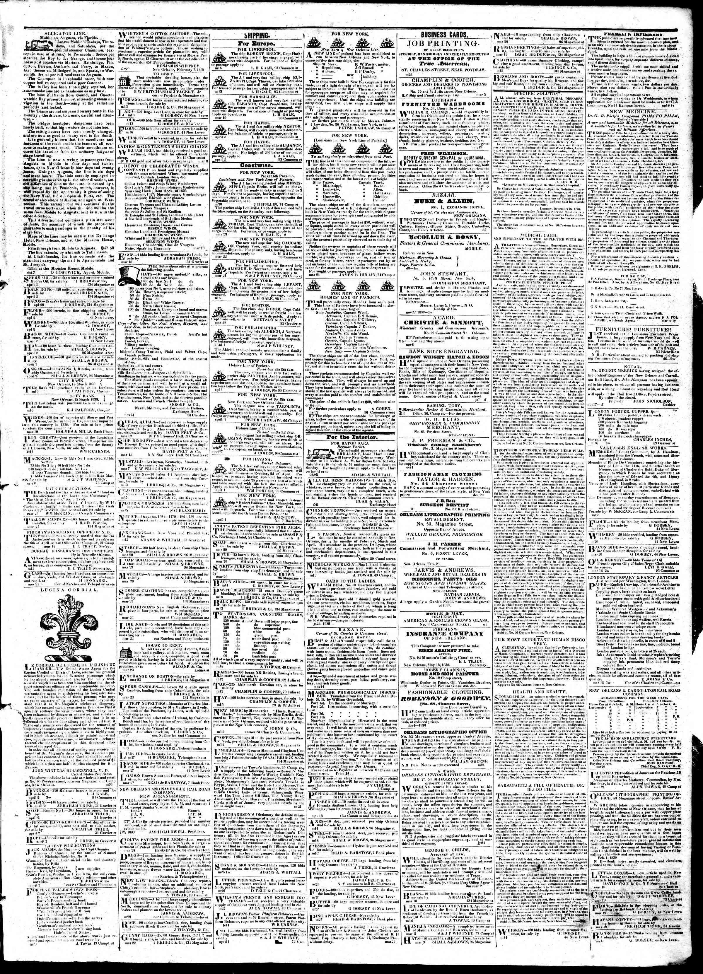 April 3, 1839 Tarihli True American Gazetesi Sayfa 3