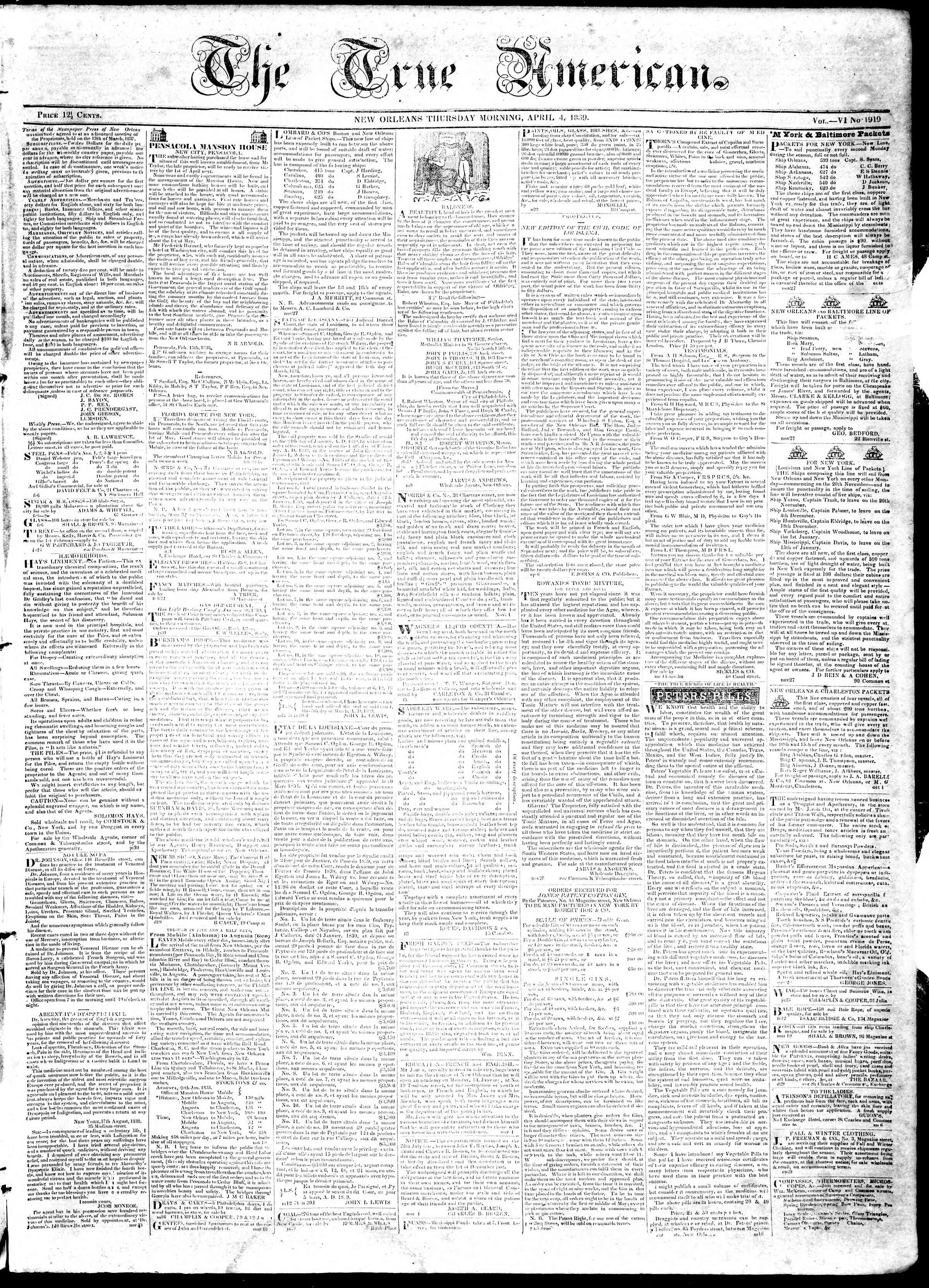 4 Nisan 1839 tarihli True American Gazetesi Sayfa 1