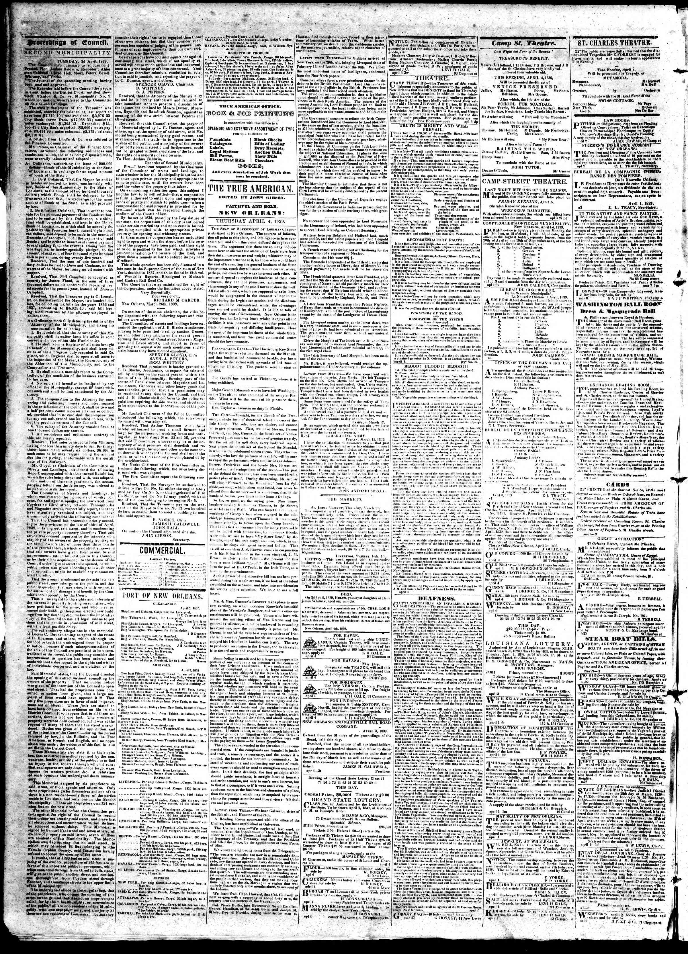 April 4, 1839 Tarihli True American Gazetesi Sayfa 2