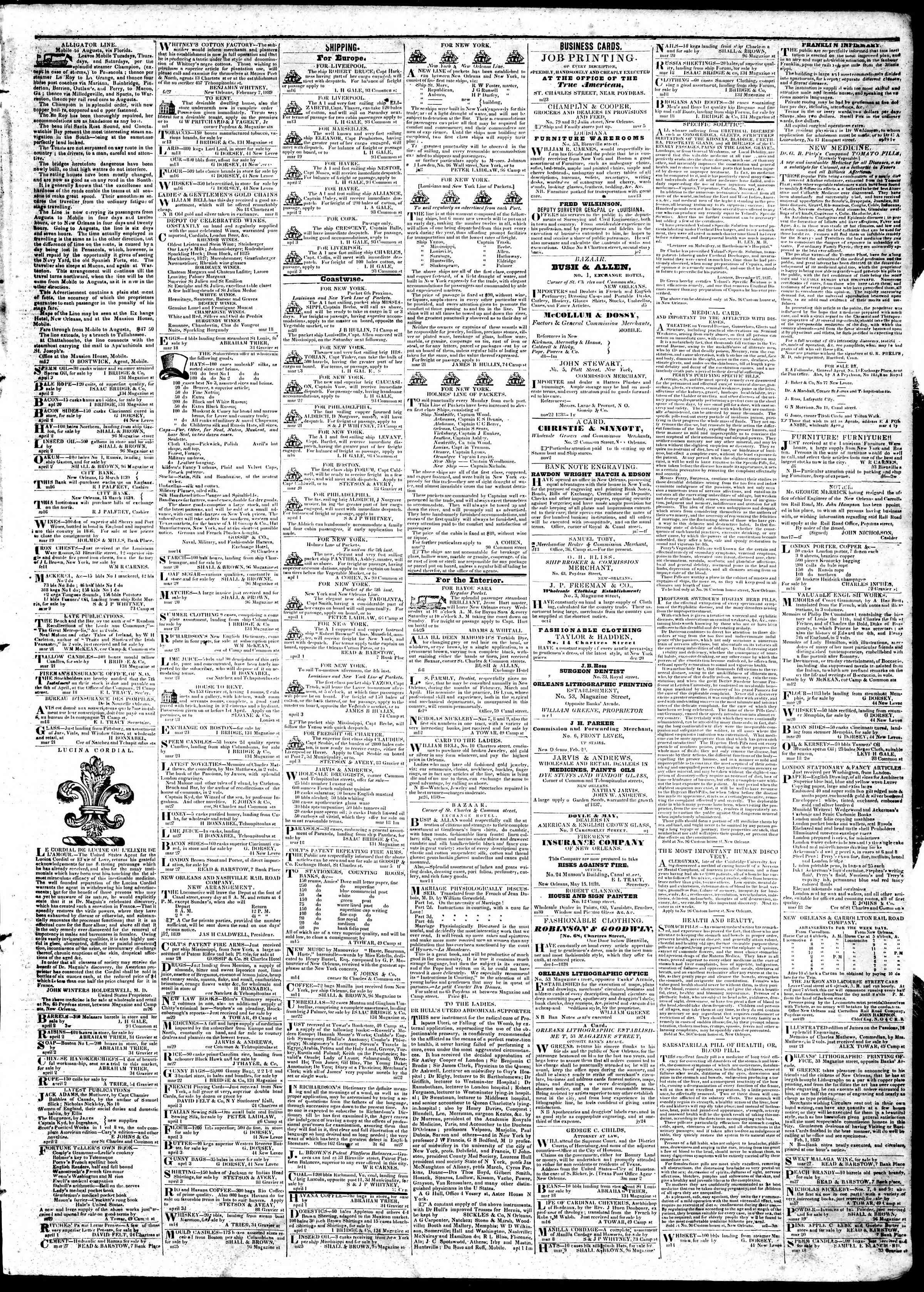 April 4, 1839 Tarihli True American Gazetesi Sayfa 3