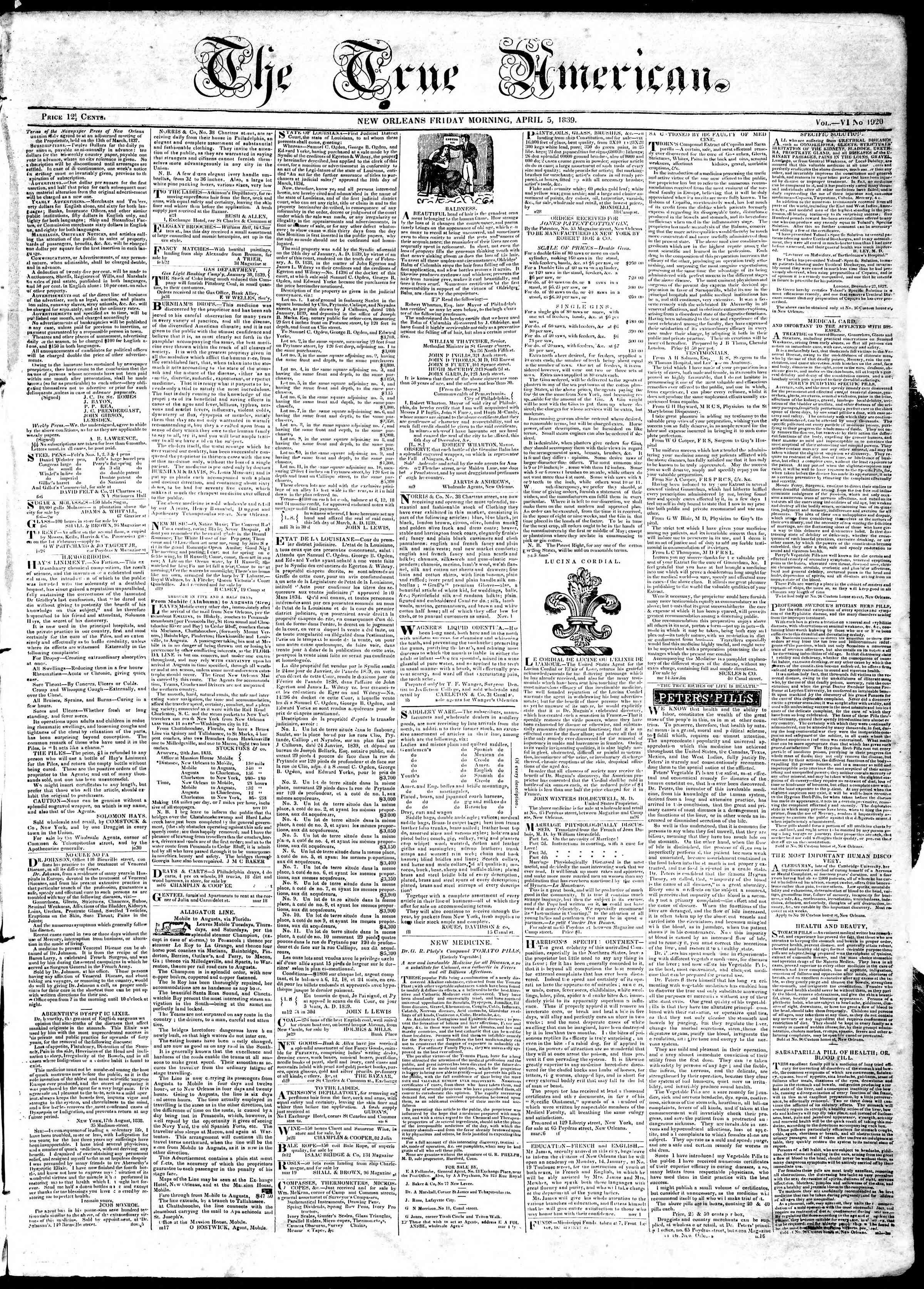 April 5, 1839 Tarihli True American Gazetesi Sayfa 1