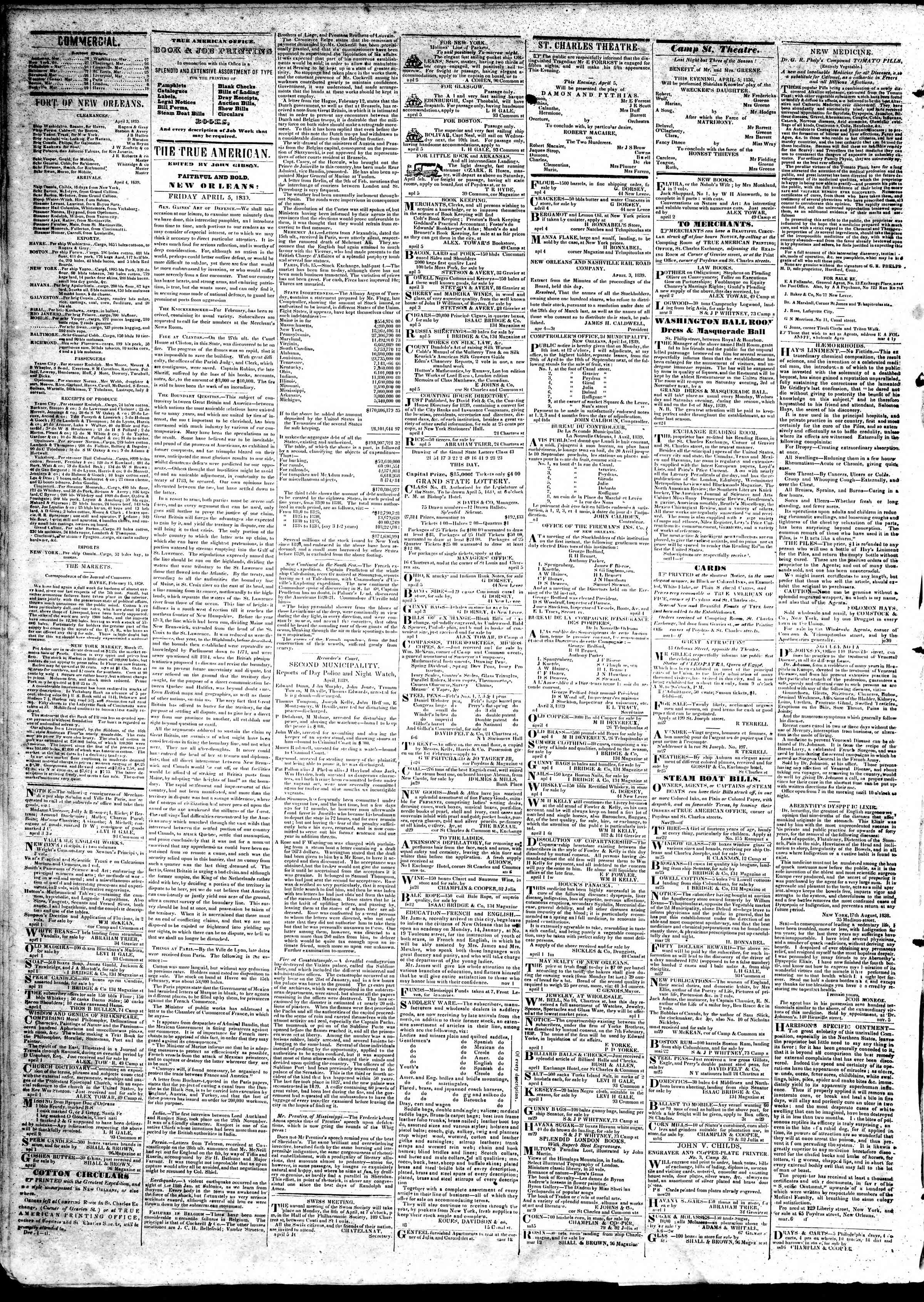 Newspaper of True American dated April 5, 1839 Page 2
