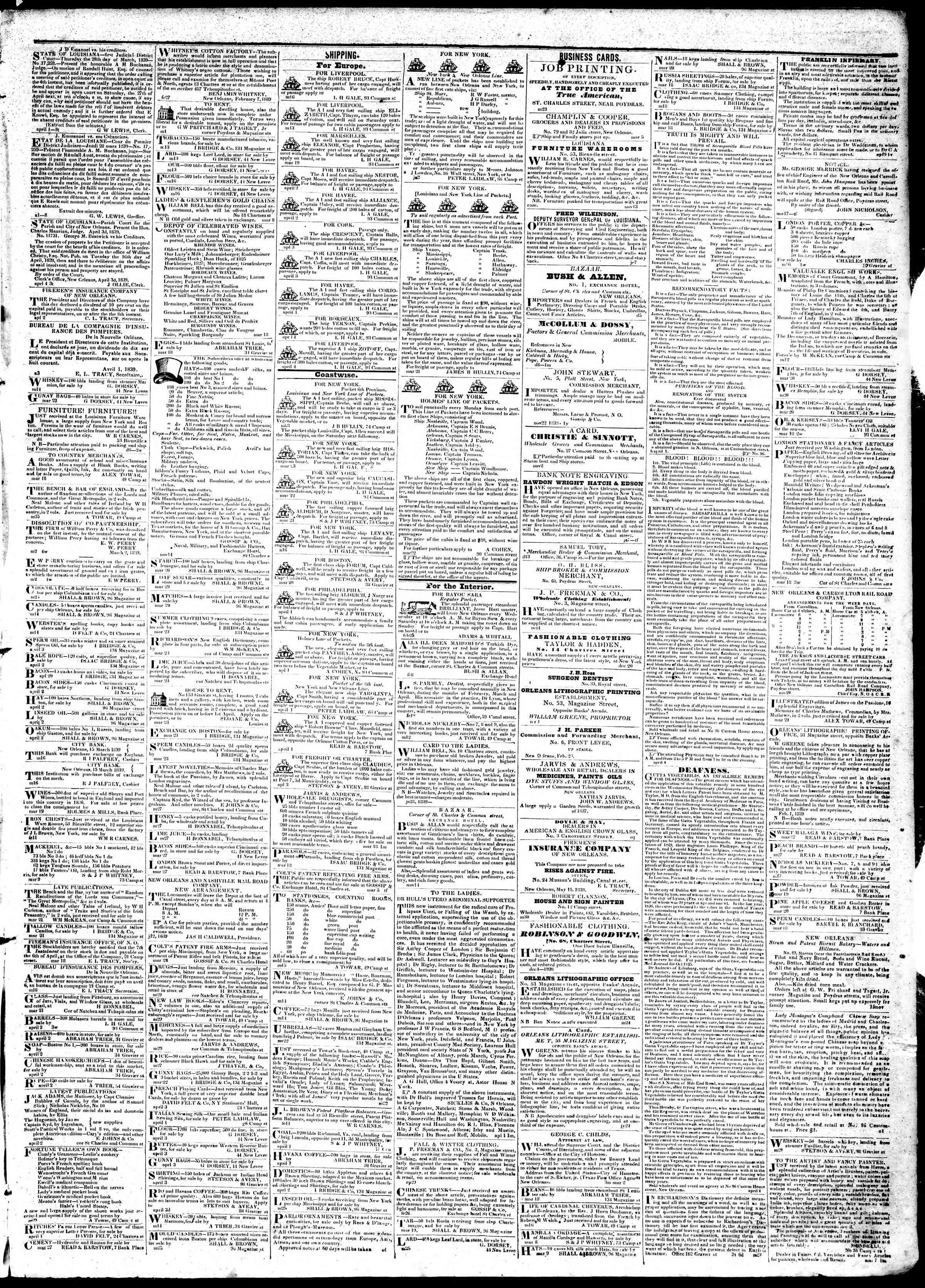 April 5, 1839 Tarihli True American Gazetesi Sayfa 3