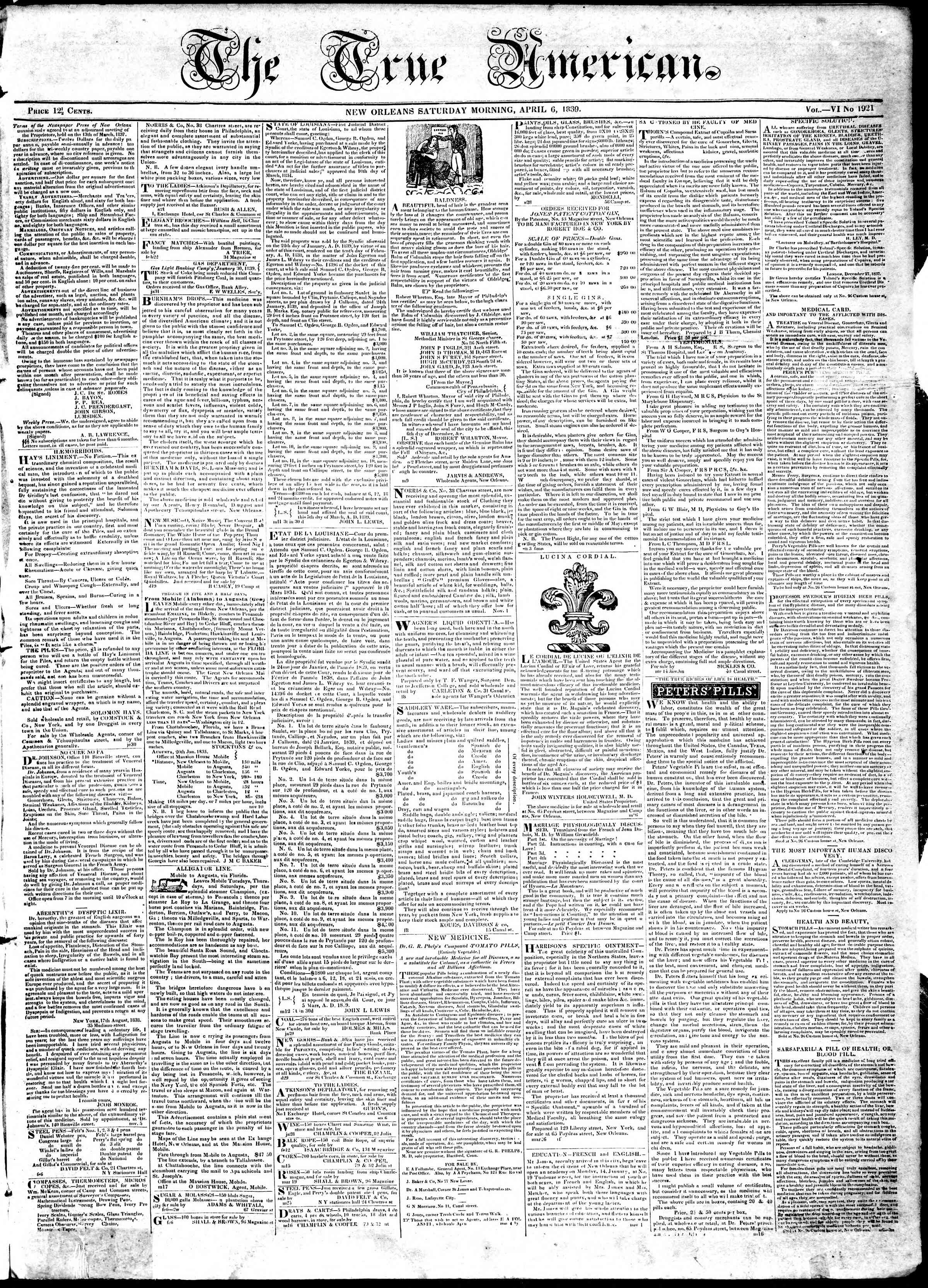 6 Nisan 1839 Tarihli True American Gazetesi Sayfa 1