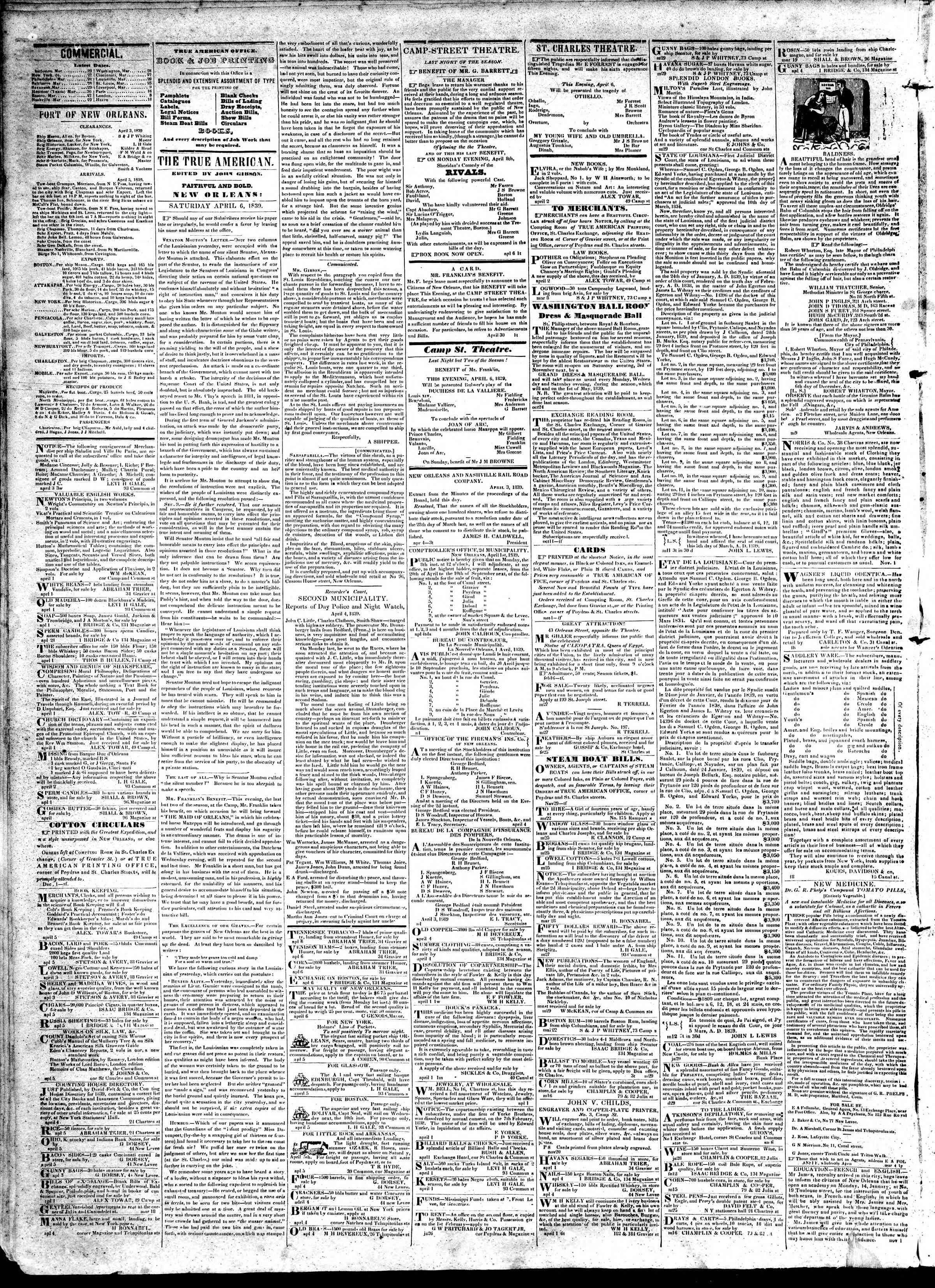 Newspaper of True American dated April 6, 1839 Page 2