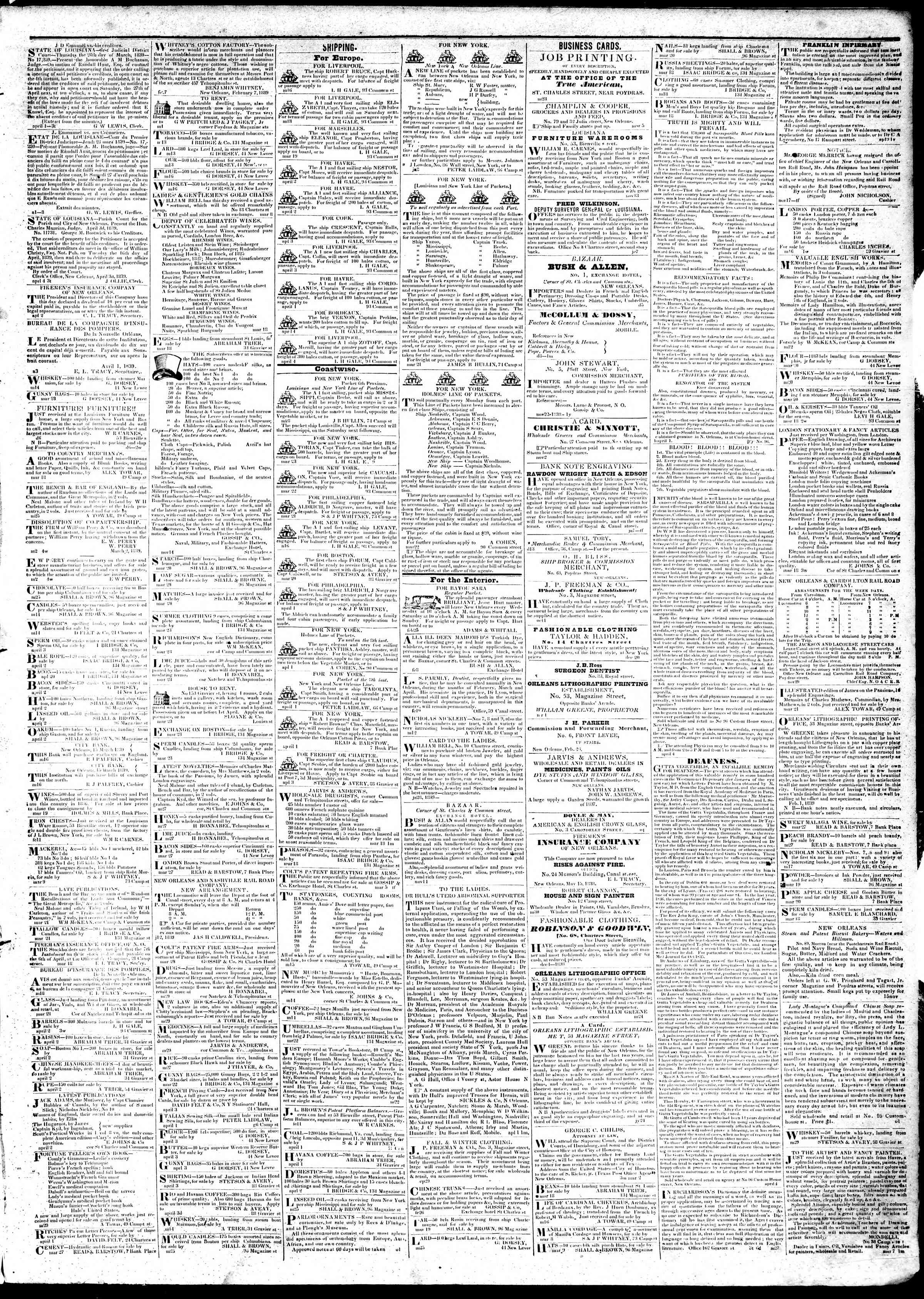 Newspaper of True American dated April 6, 1839 Page 3