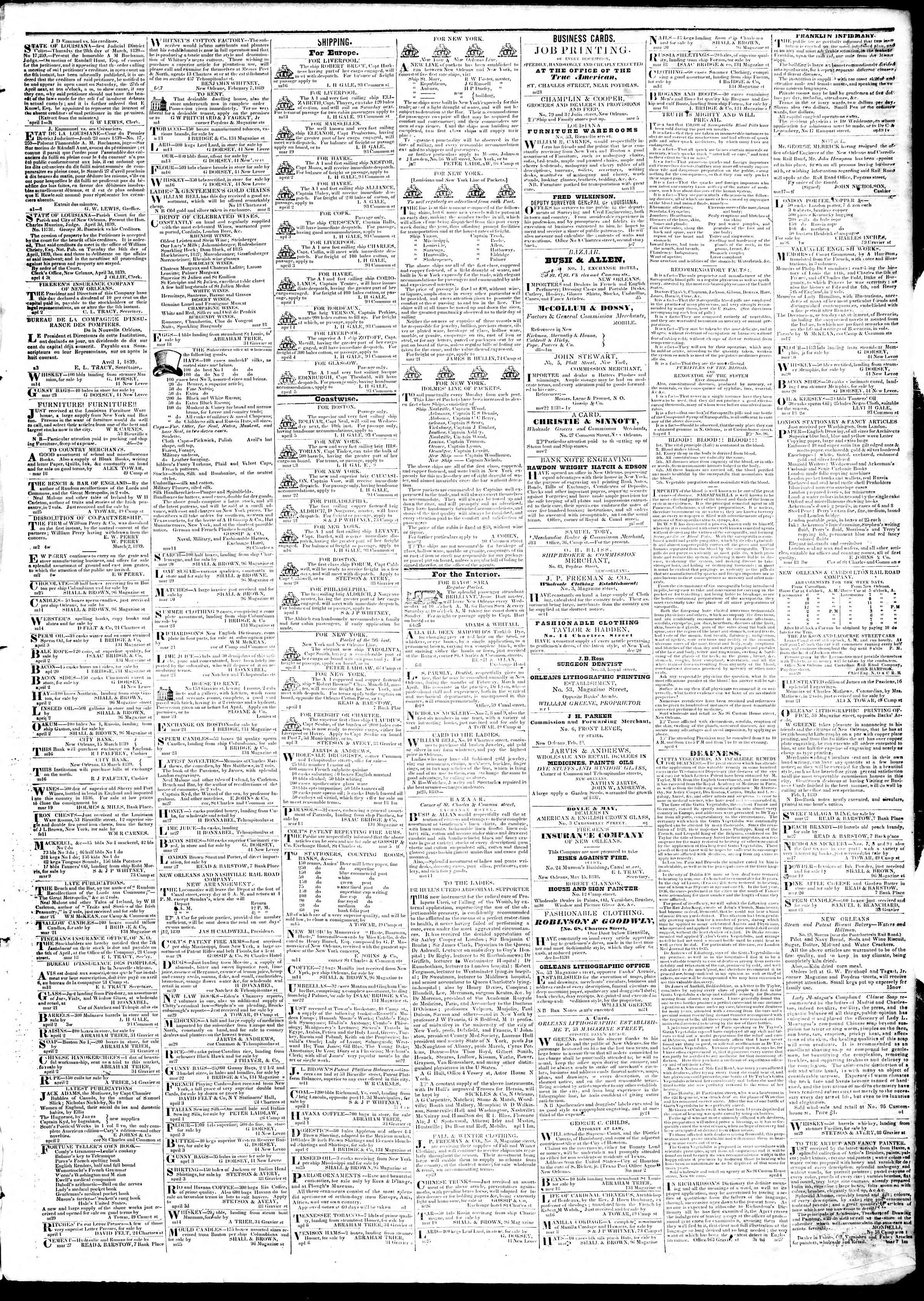April 8, 1839 Tarihli True American Gazetesi Sayfa 3