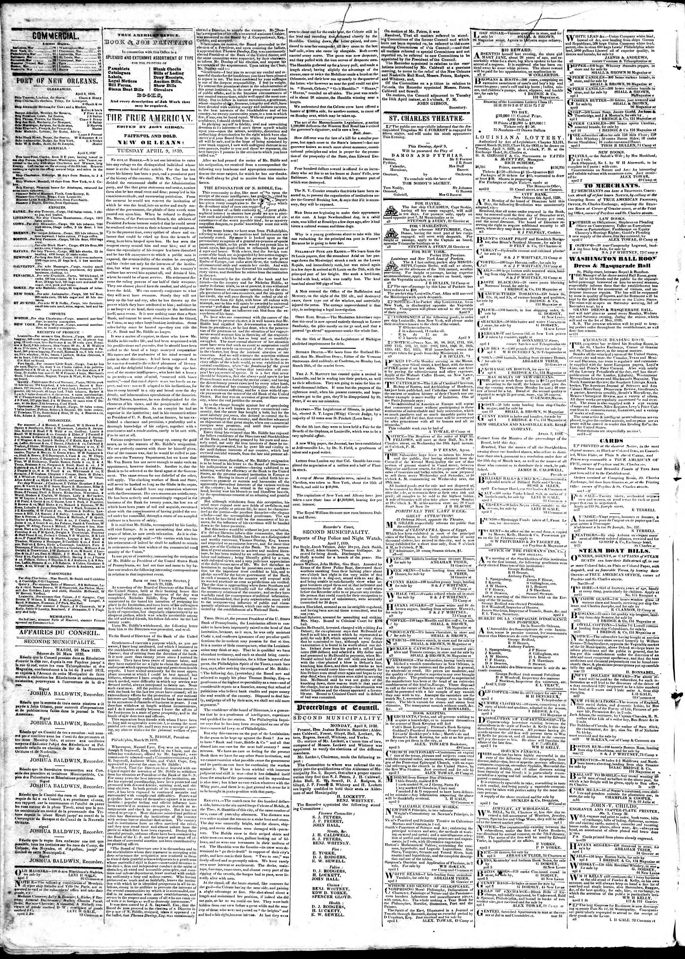 April 9, 1839 Tarihli True American Gazetesi Sayfa 2