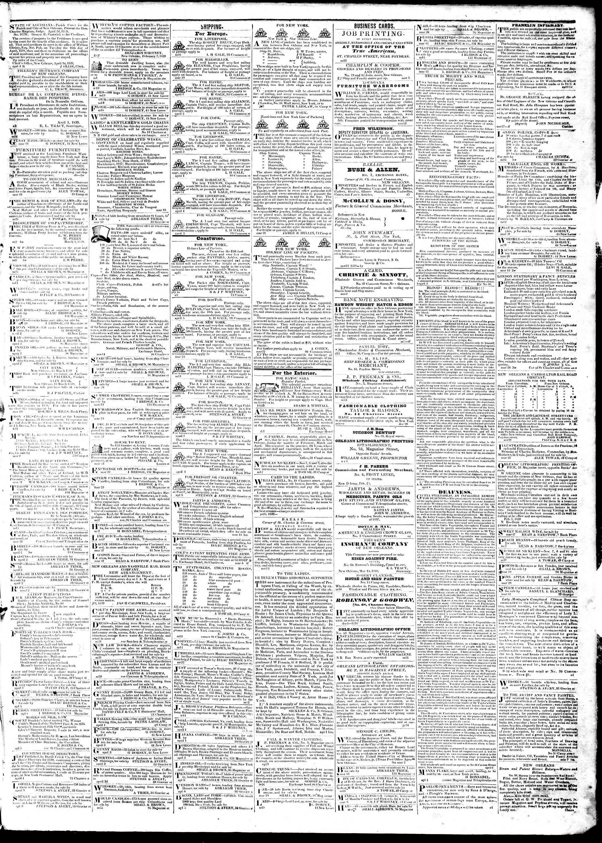 April 9, 1839 Tarihli True American Gazetesi Sayfa 3