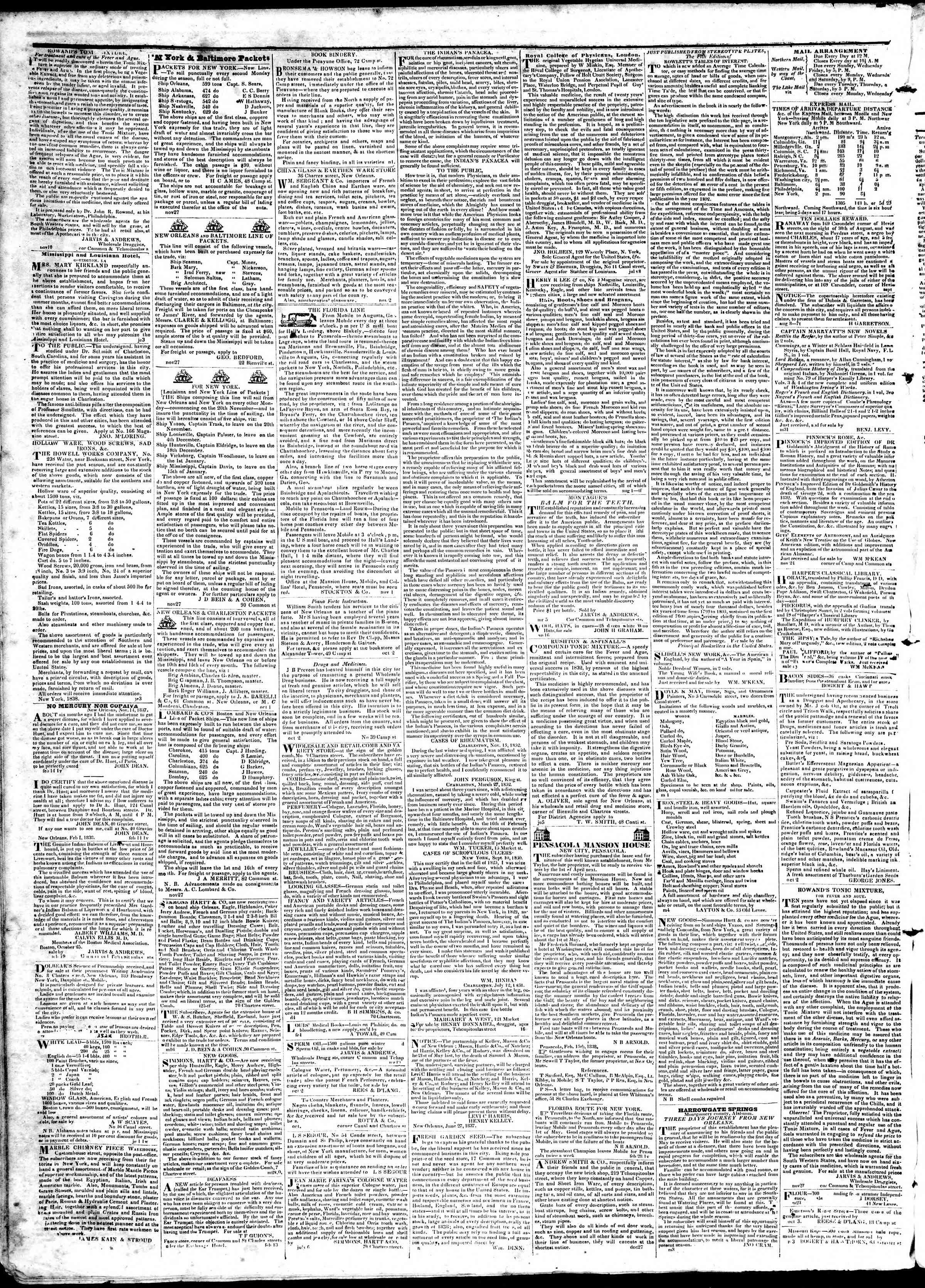 April 9, 1839 Tarihli True American Gazetesi Sayfa 4