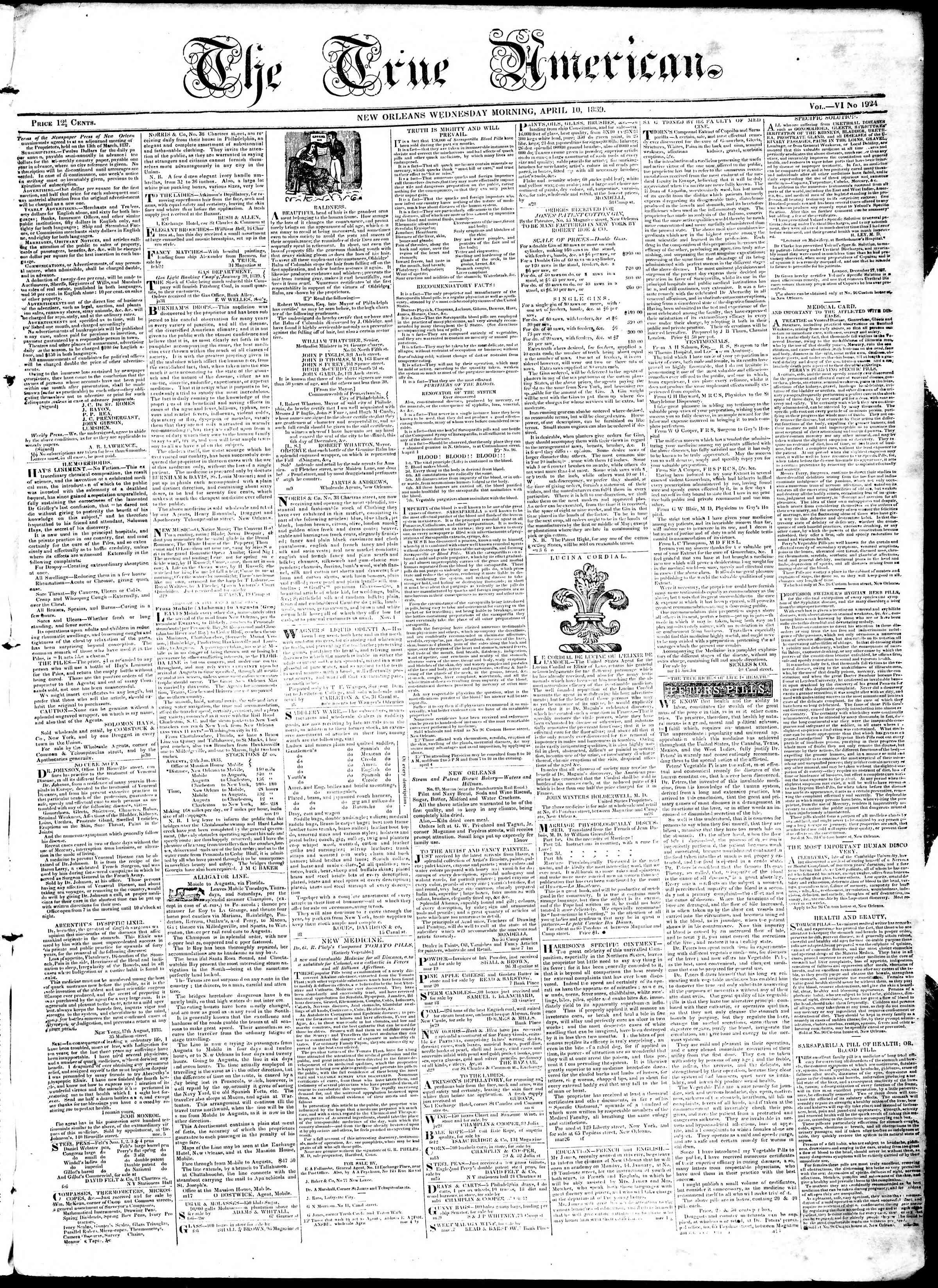 April 10, 1839 Tarihli True American Gazetesi Sayfa 1