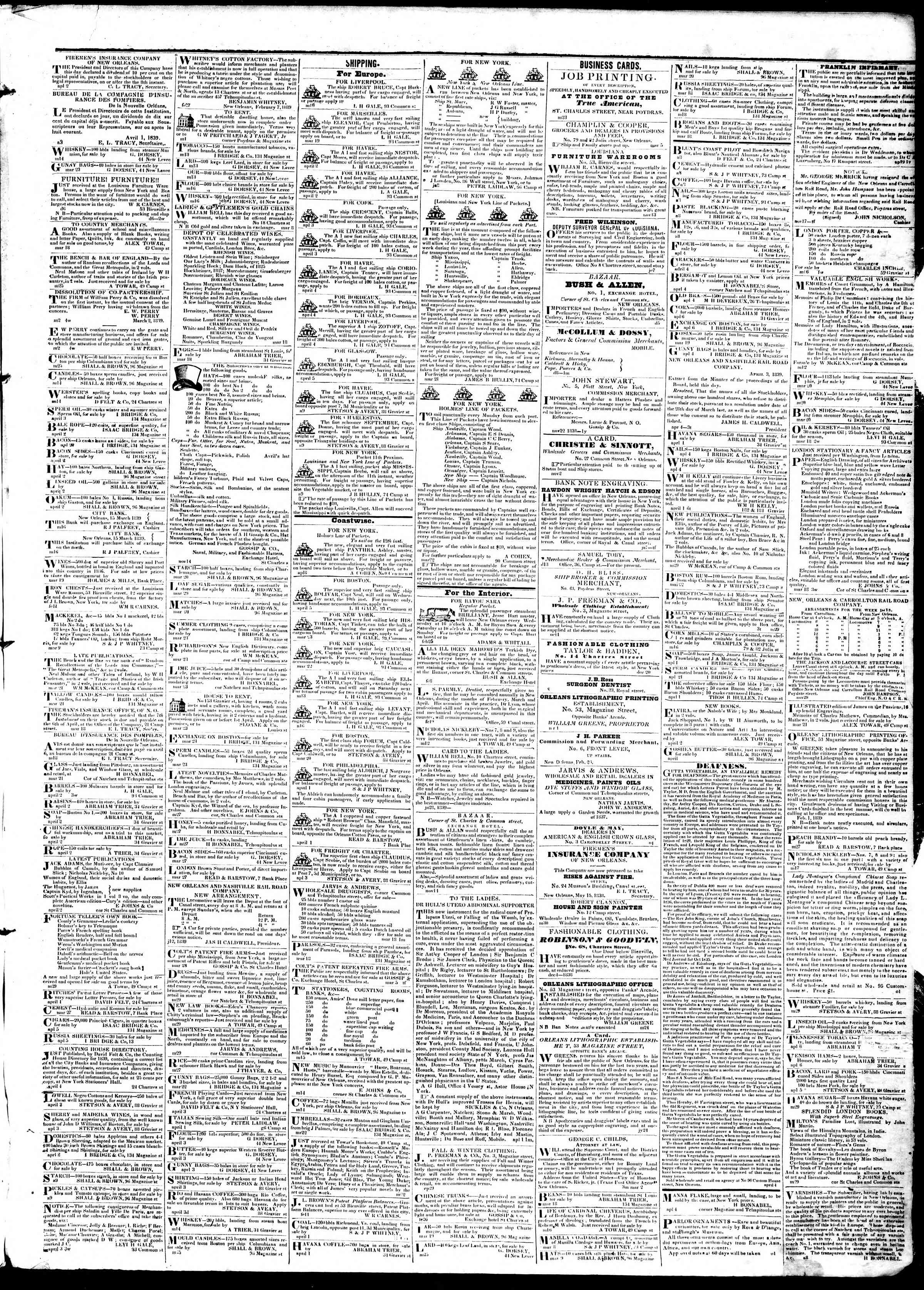 April 10, 1839 Tarihli True American Gazetesi Sayfa 3