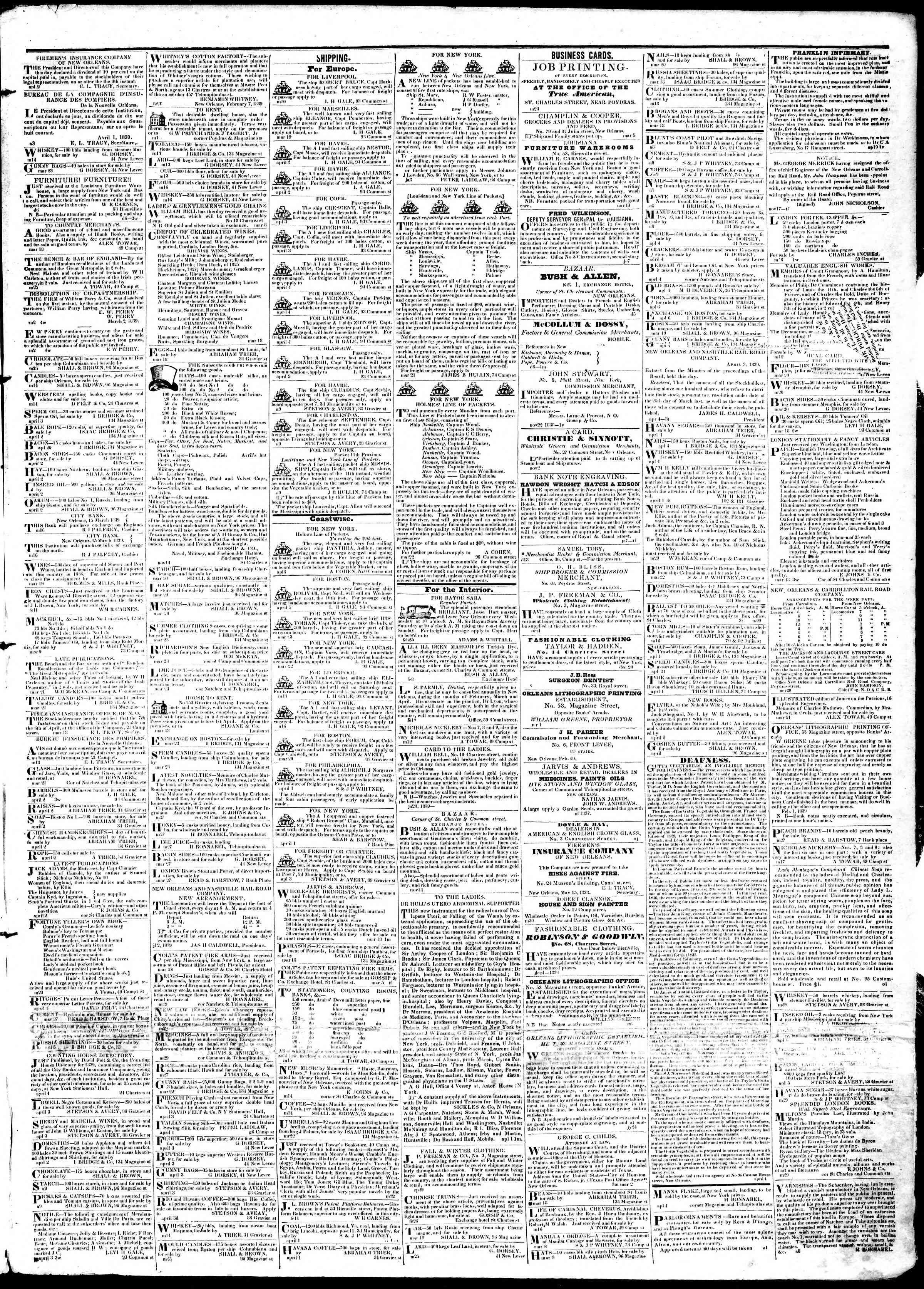 April 11, 1839 Tarihli True American Gazetesi Sayfa 3