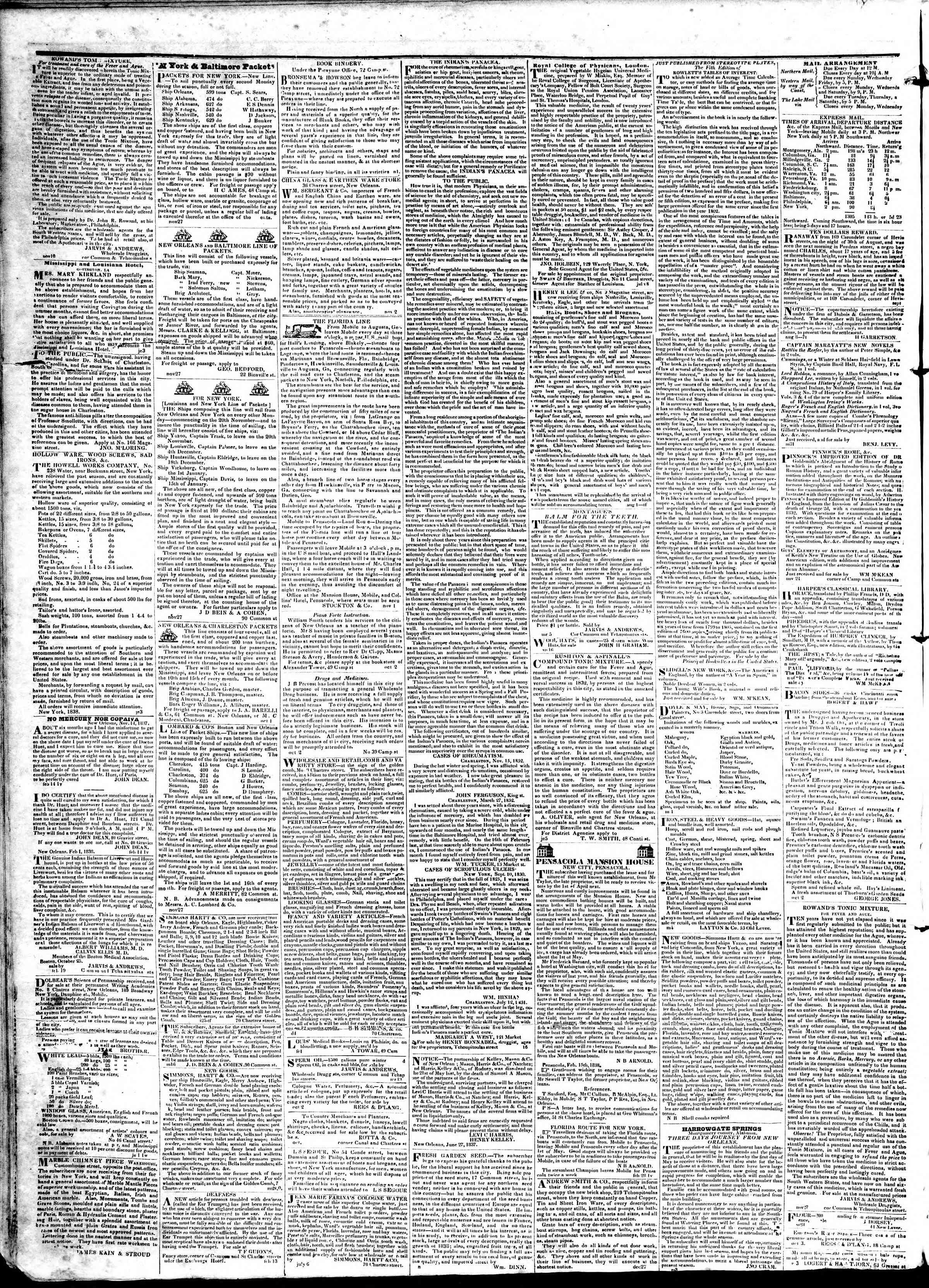 April 11, 1839 Tarihli True American Gazetesi Sayfa 4